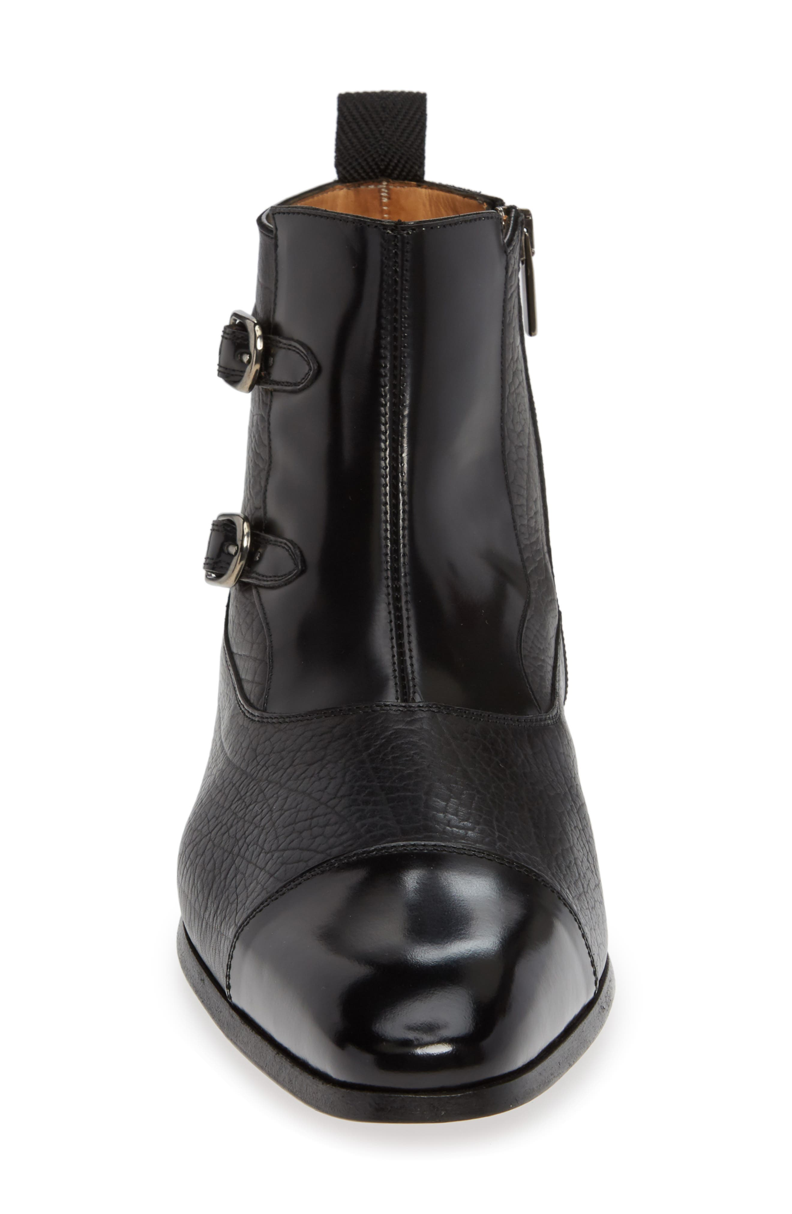 Tracy Double Buckle Cap Toe Boot,                             Alternate thumbnail 4, color,                             BLACK LEATHER