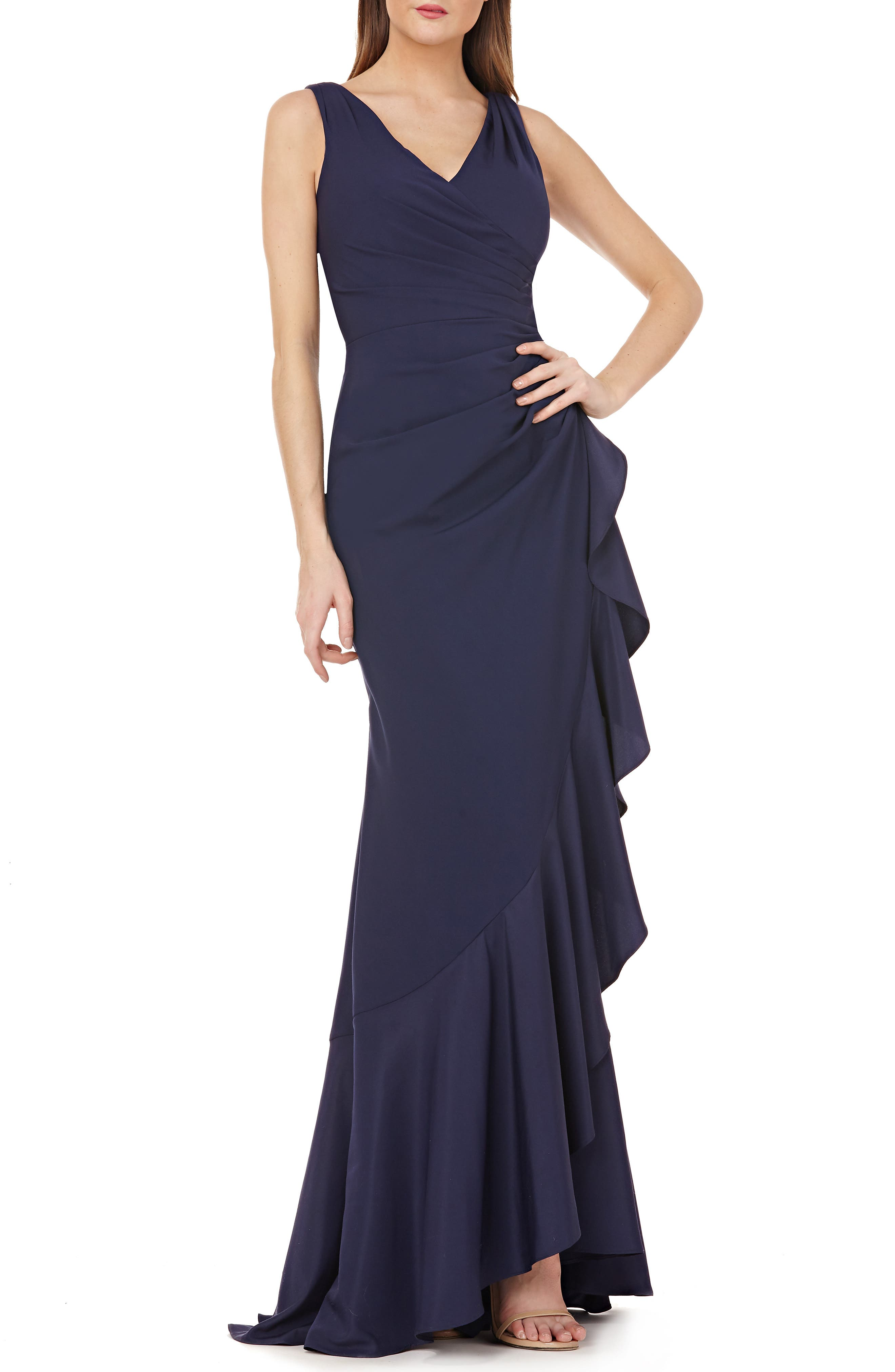 CARMEN MARC VALVO Infusion Draped Ruffle Gown in Midnight