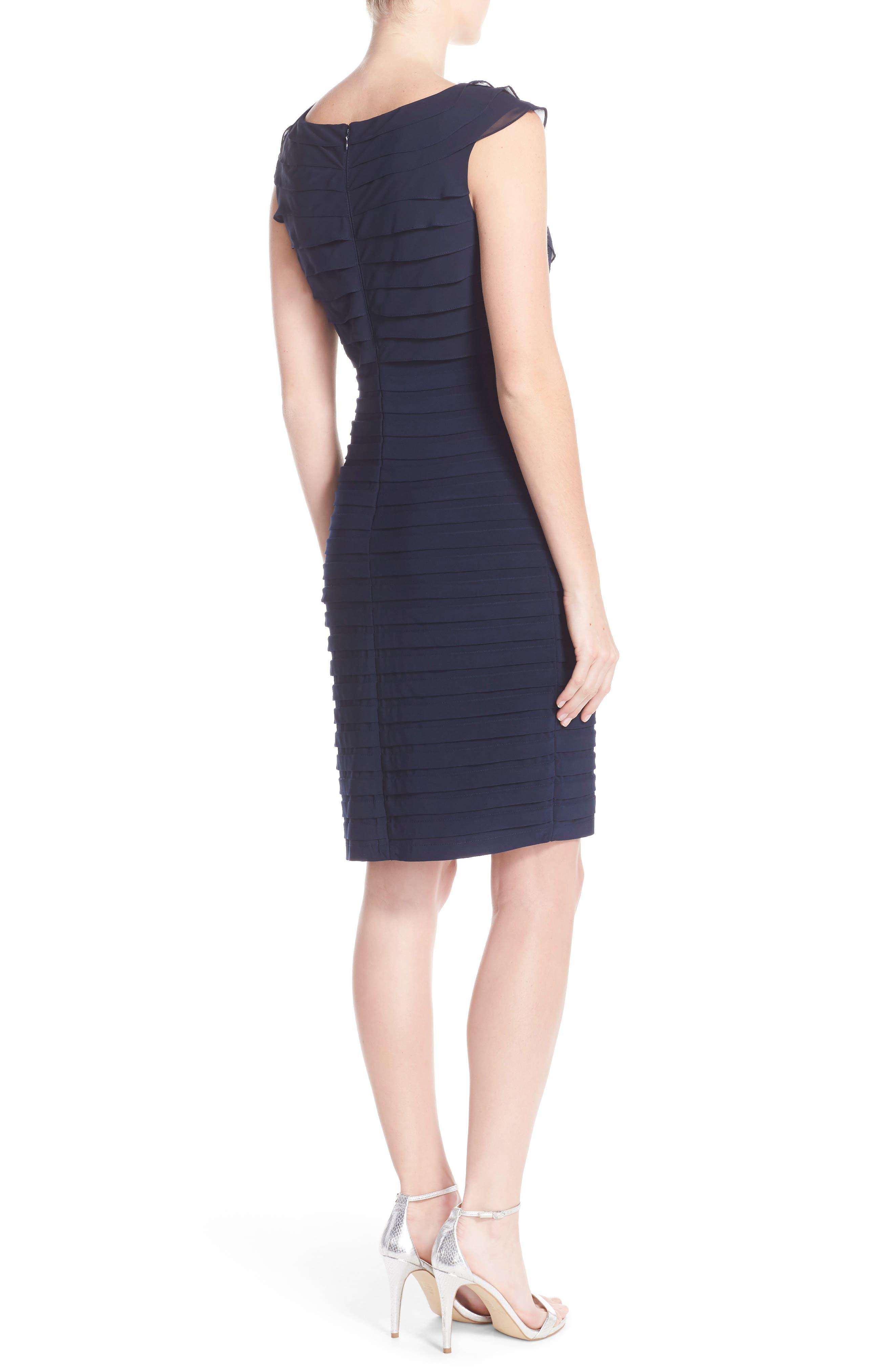 Chiffon & Jersey Sheath Dress,                             Alternate thumbnail 3, color,                             408
