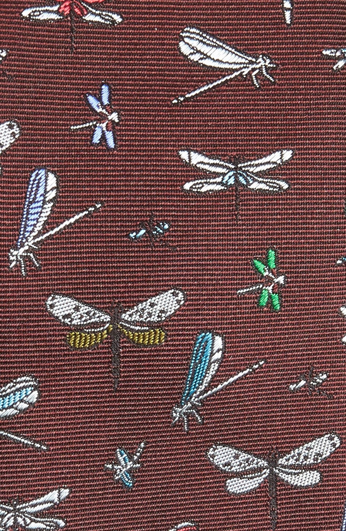 Dragonfly Silk Tie,                             Alternate thumbnail 2, color,                             BURGUNDY