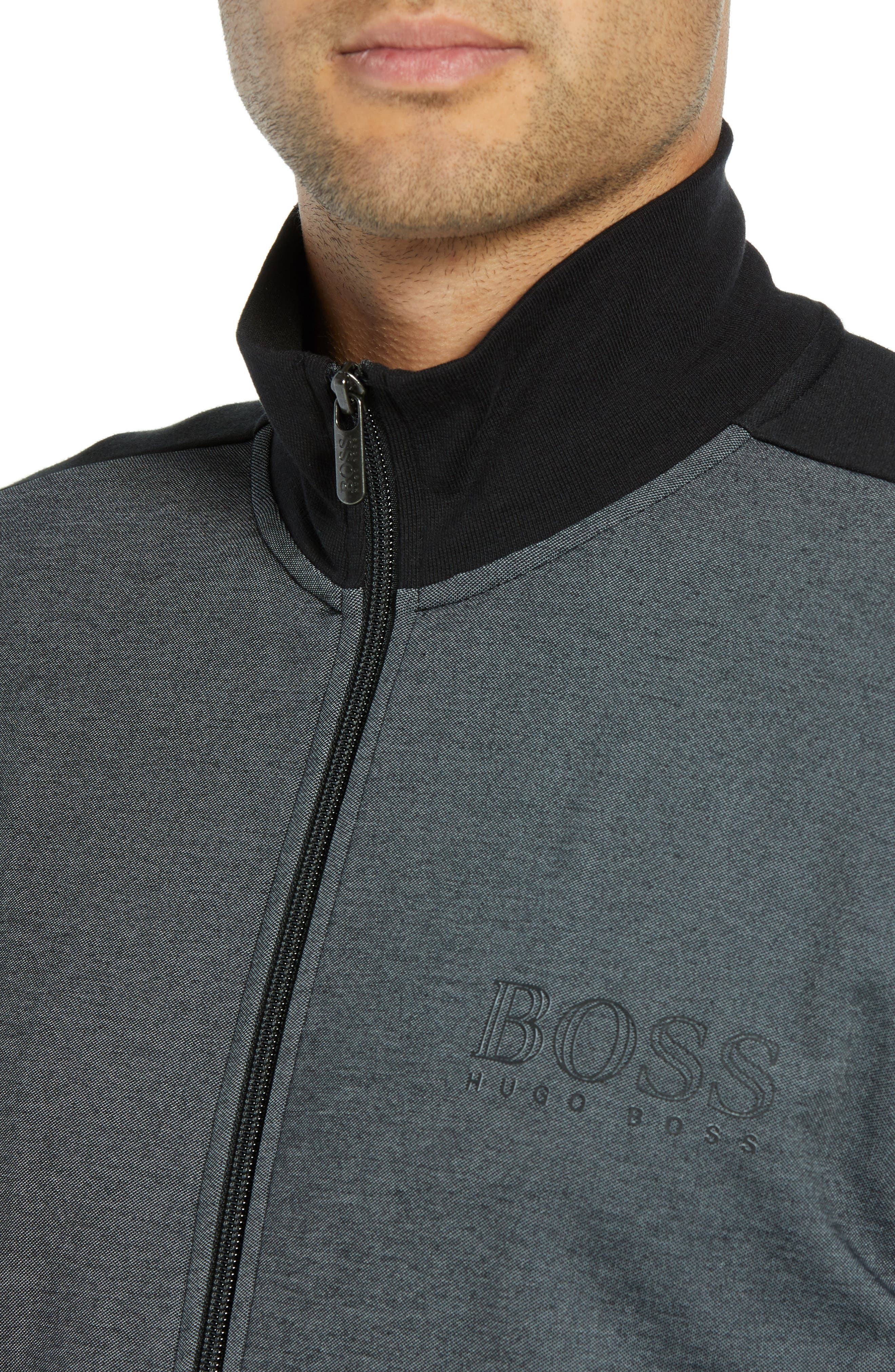 Cotton Blend Track Jacket,                             Alternate thumbnail 4, color,                             BLACK