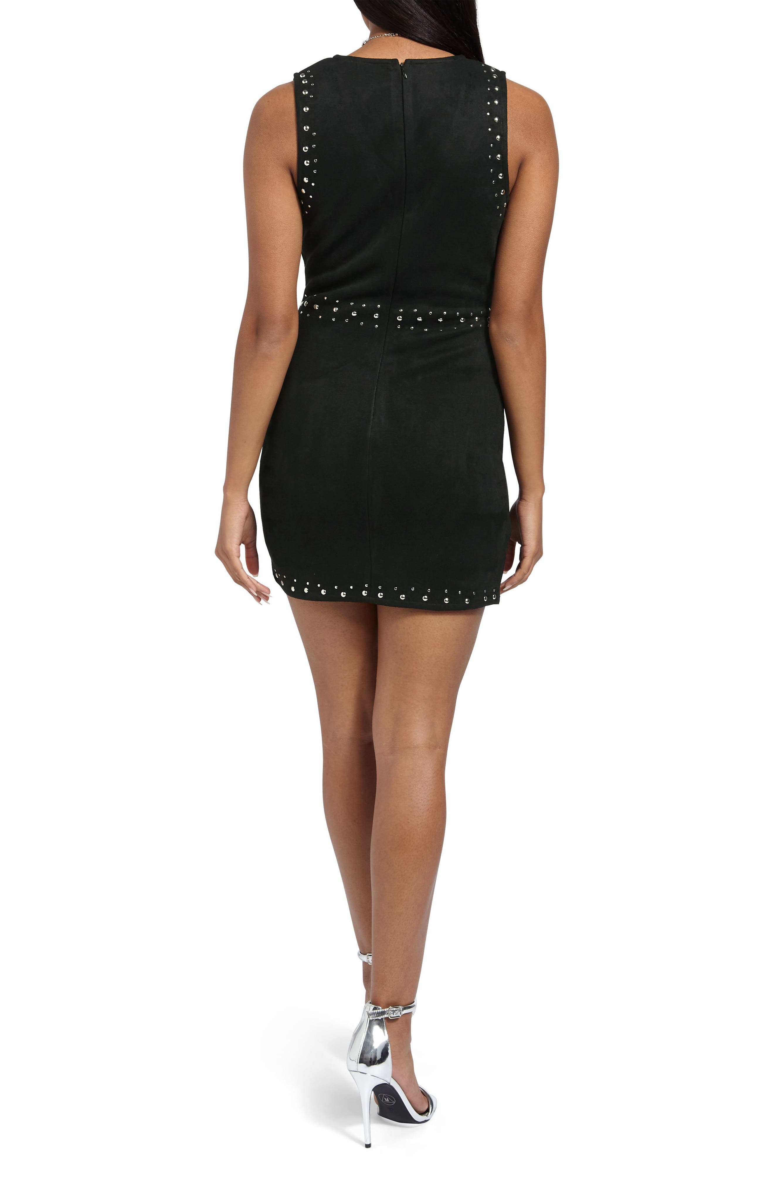 Studded Faux Suede Body-Con Dress,                             Alternate thumbnail 2, color,                             002