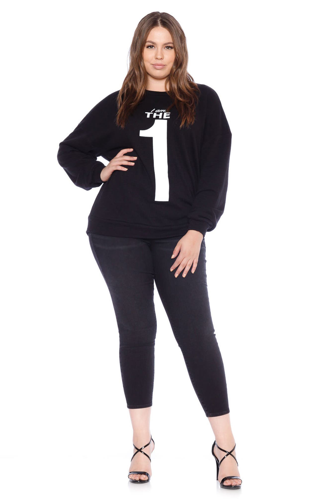 SLINK JEANS,                             I Am the One Oversize Sweatshirt,                             Alternate thumbnail 4, color,                             BLACK