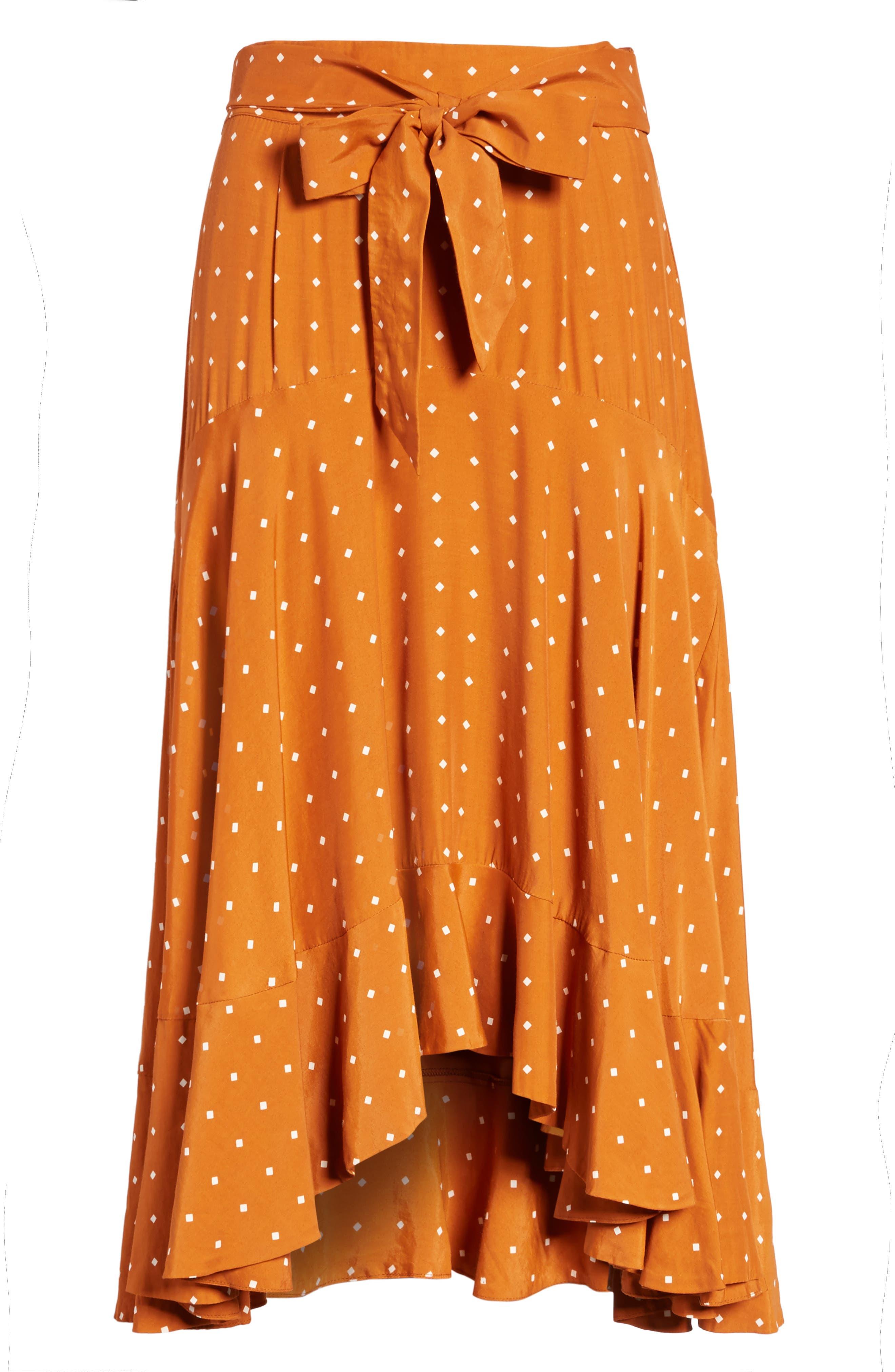 FAITHFULL THE BRAND,                             Kamares Polka Dot Midi Skirt,                             Alternate thumbnail 6, color,                             700