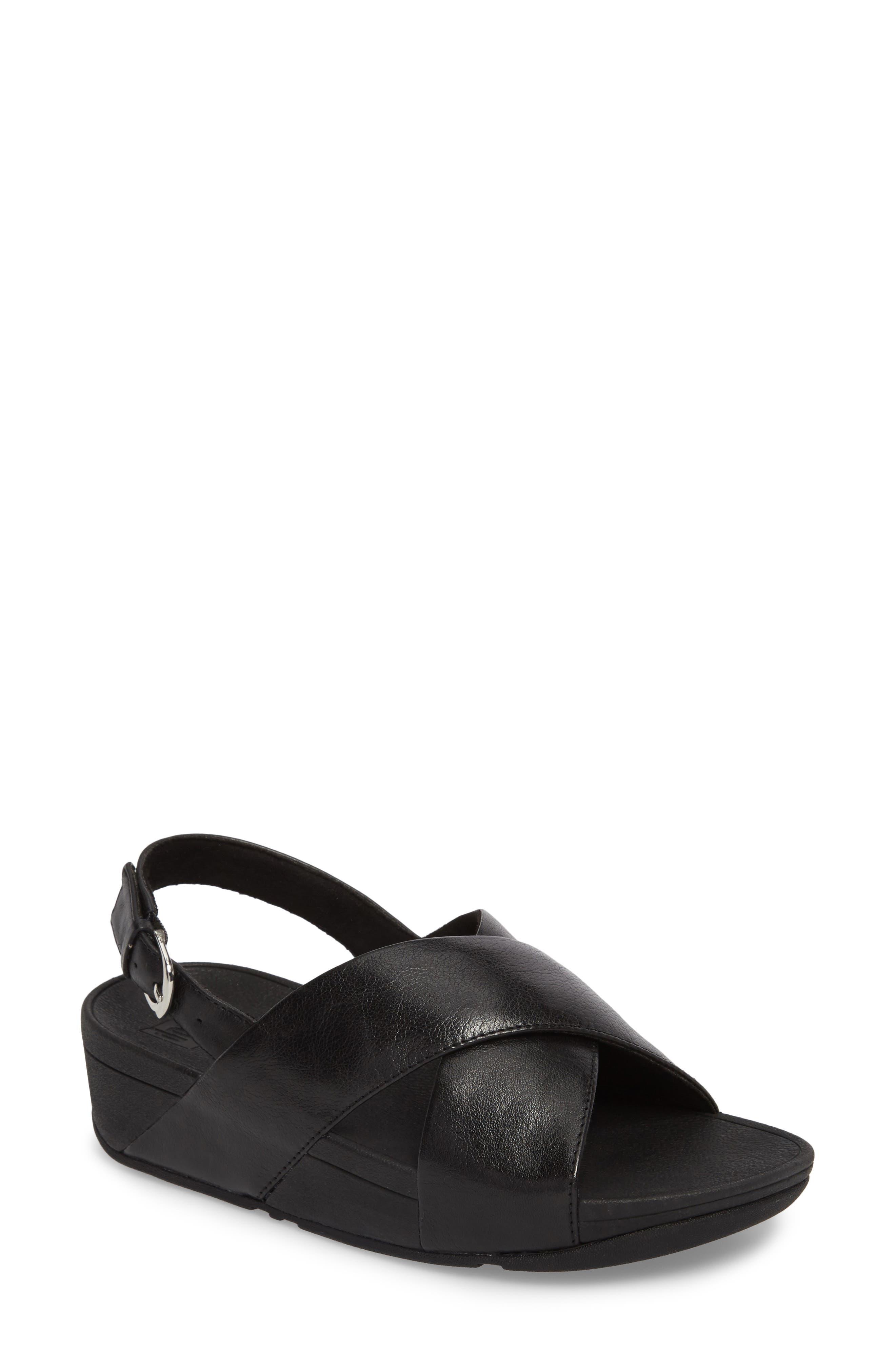 Lulu Crisscross Sandal,                             Main thumbnail 1, color,                             BLACK