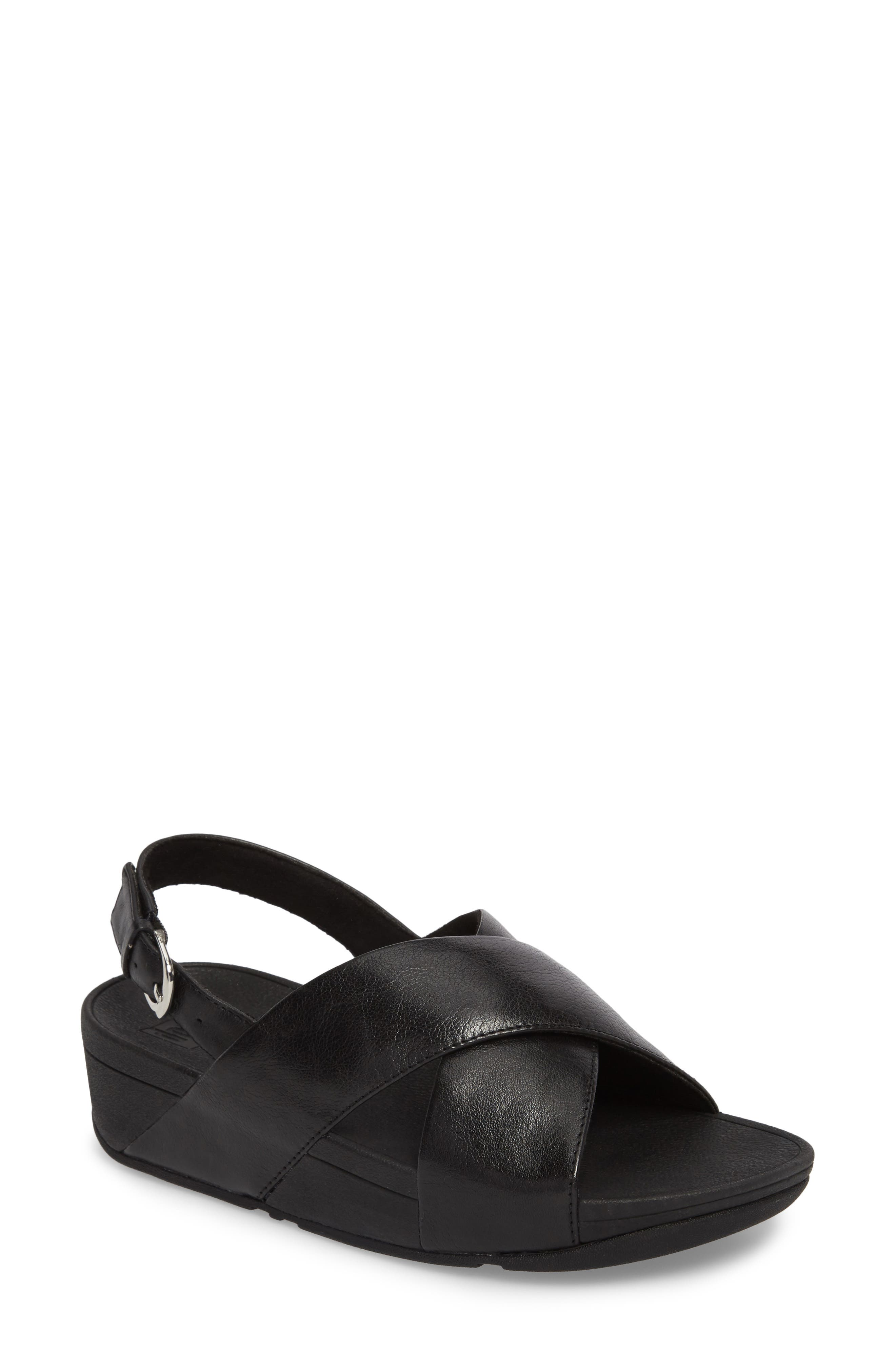 Lulu Crisscross Sandal,                         Main,                         color, BLACK