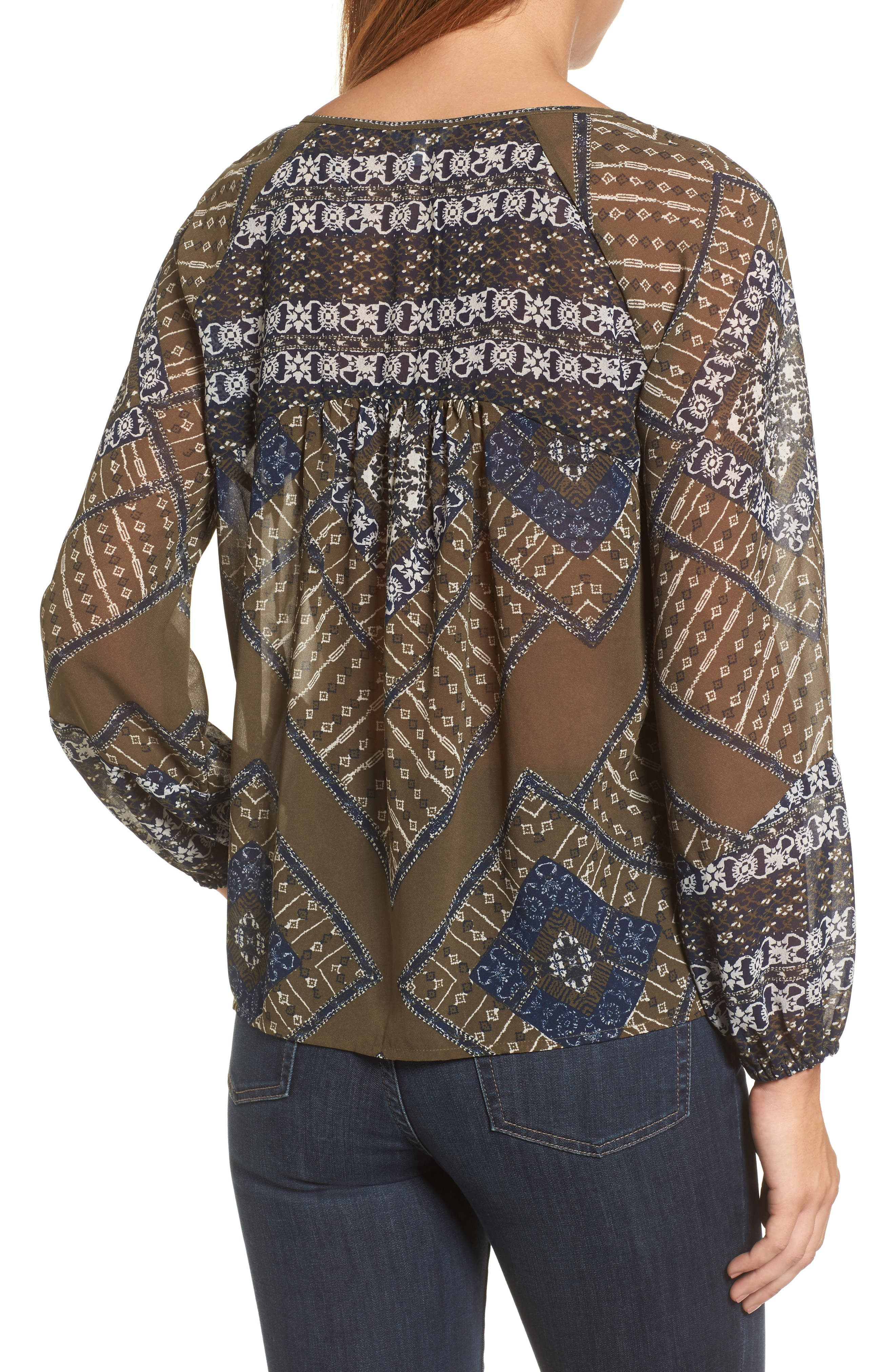Mixed Print Peasant Top,                             Alternate thumbnail 2, color,                             340