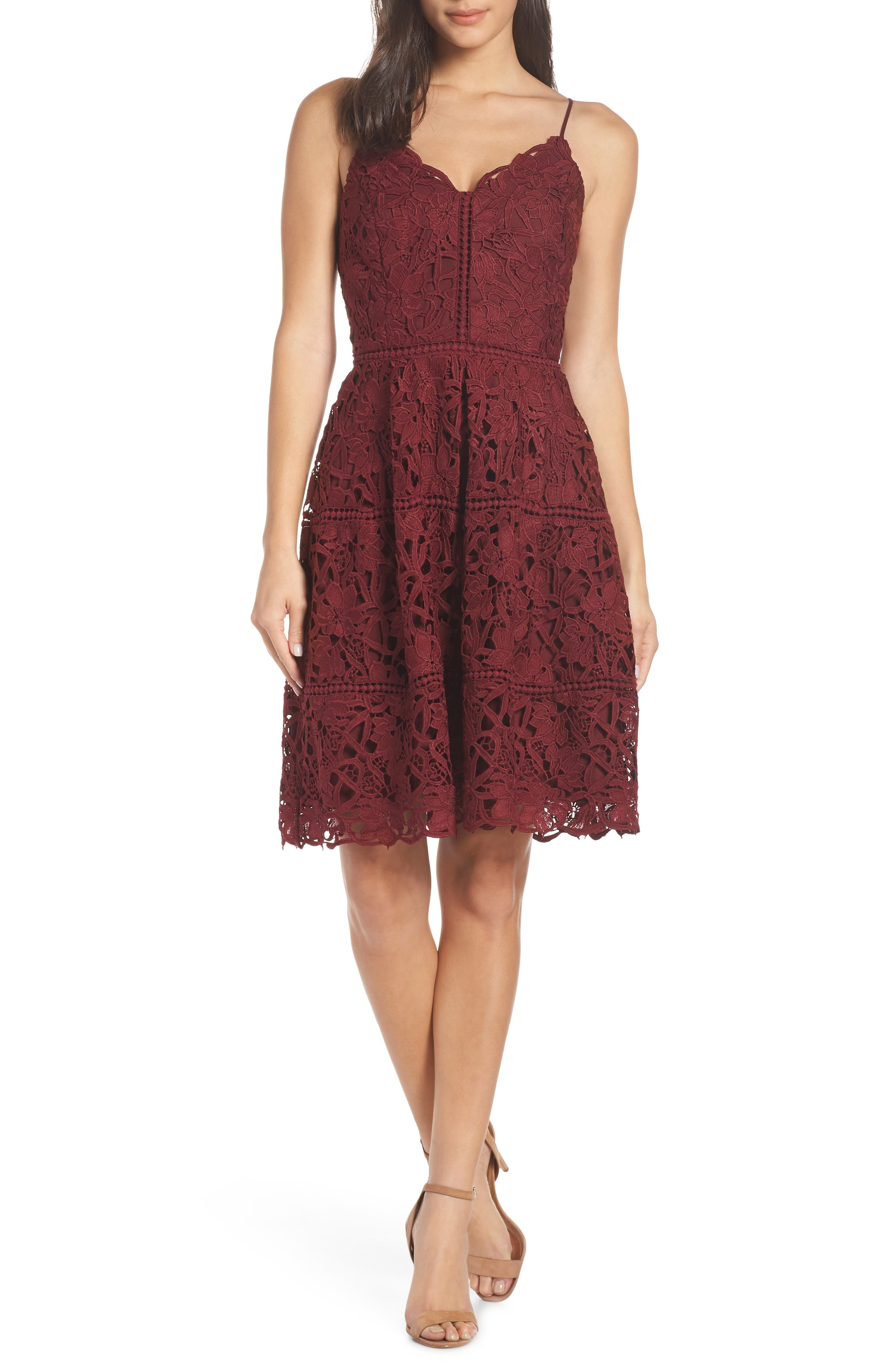 ADELYN RAE Jenny Lace Fit & Flare Dress in Cabernet