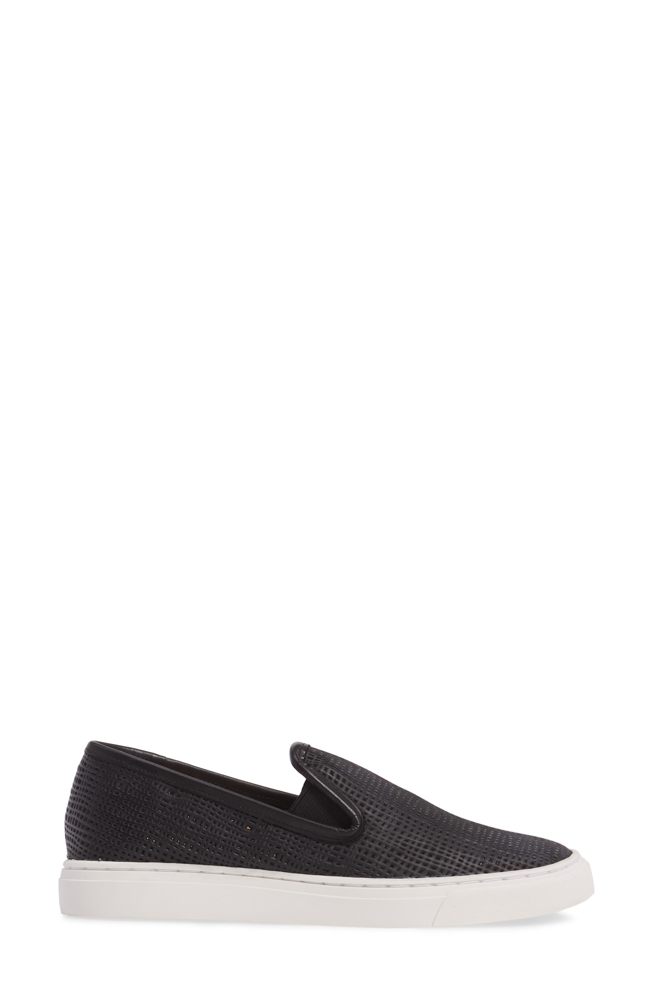 Becker Perforated Slip-On Sneaker,                             Alternate thumbnail 3, color,                             001