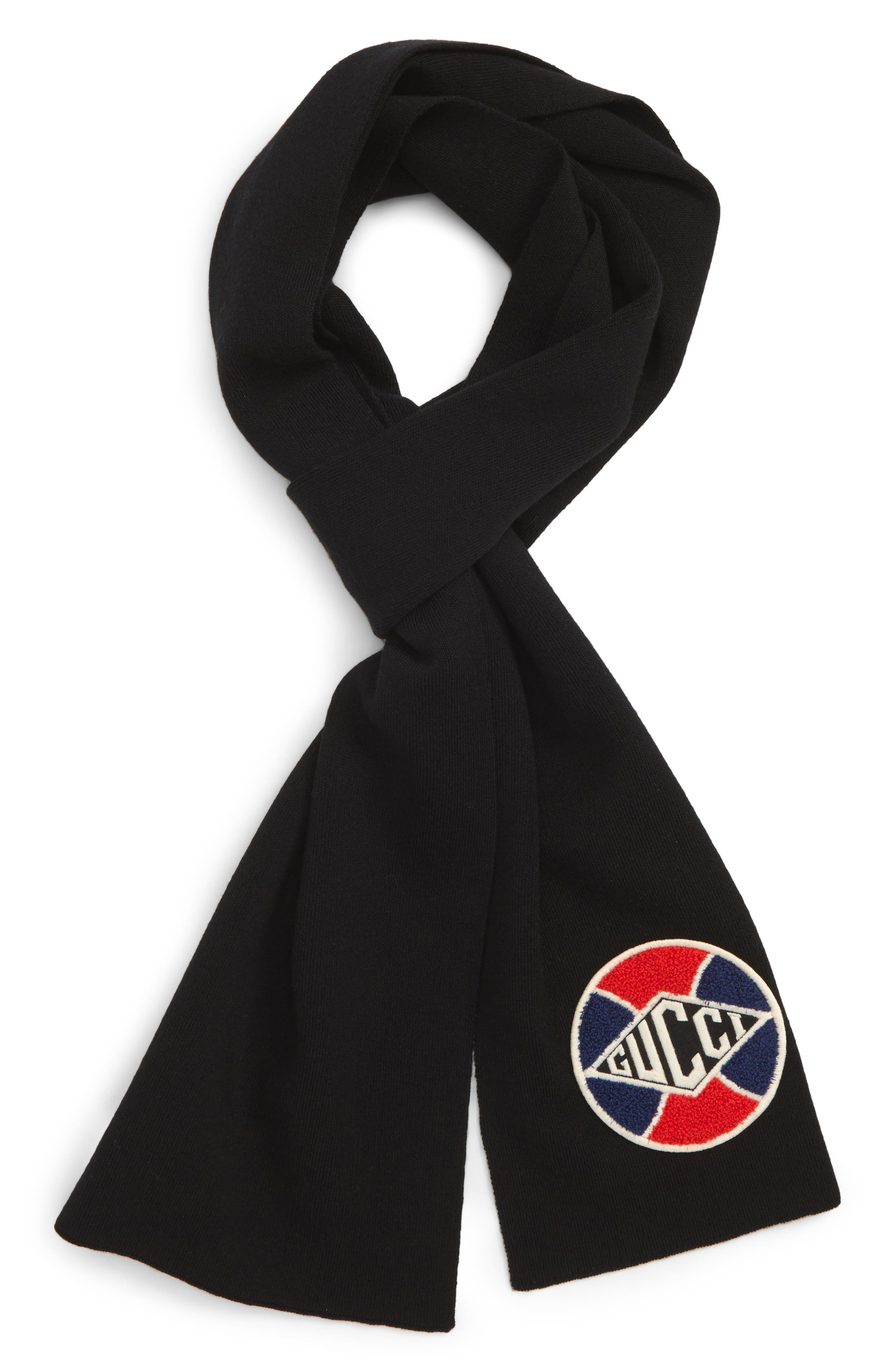 Logo Patch Wool Scarf,                             Main thumbnail 1, color,                             BLACK