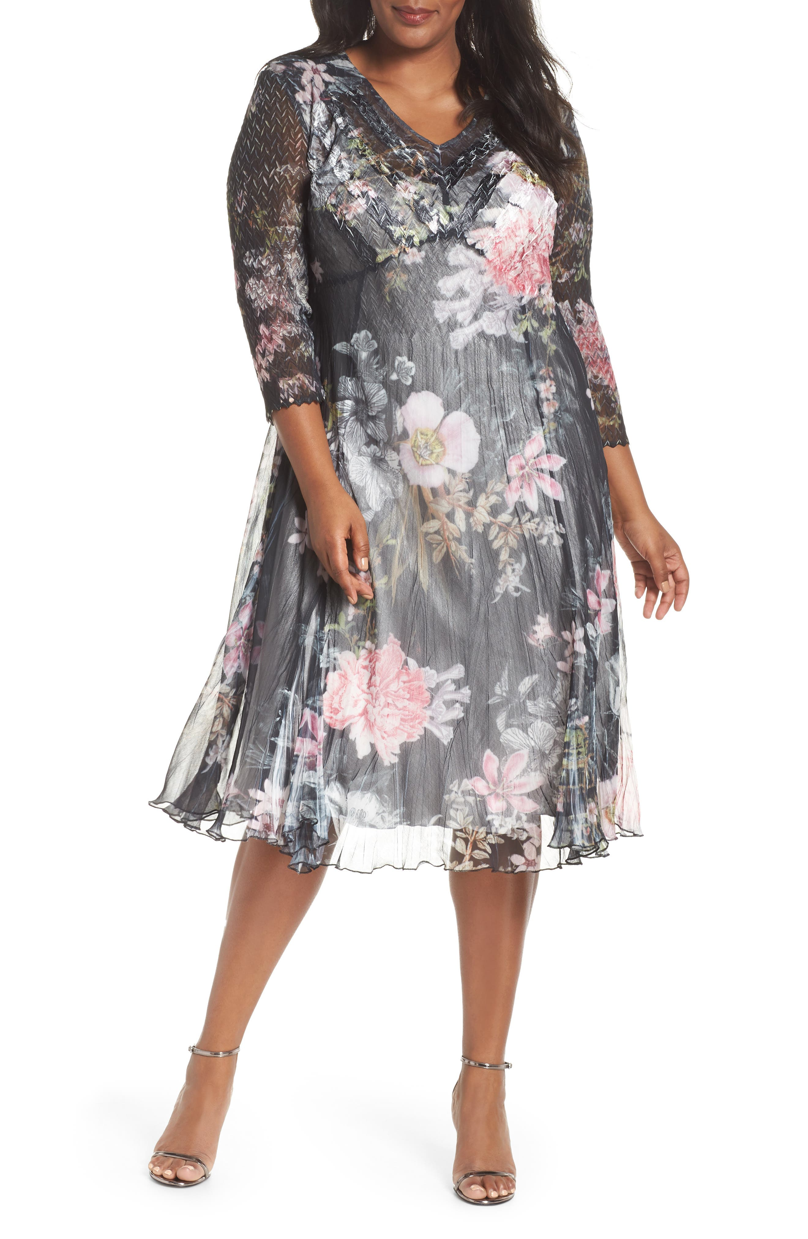 Kamarov Floral Charmeuse & Chiffon Floral A-Line Dress,                             Main thumbnail 1, color,                             001