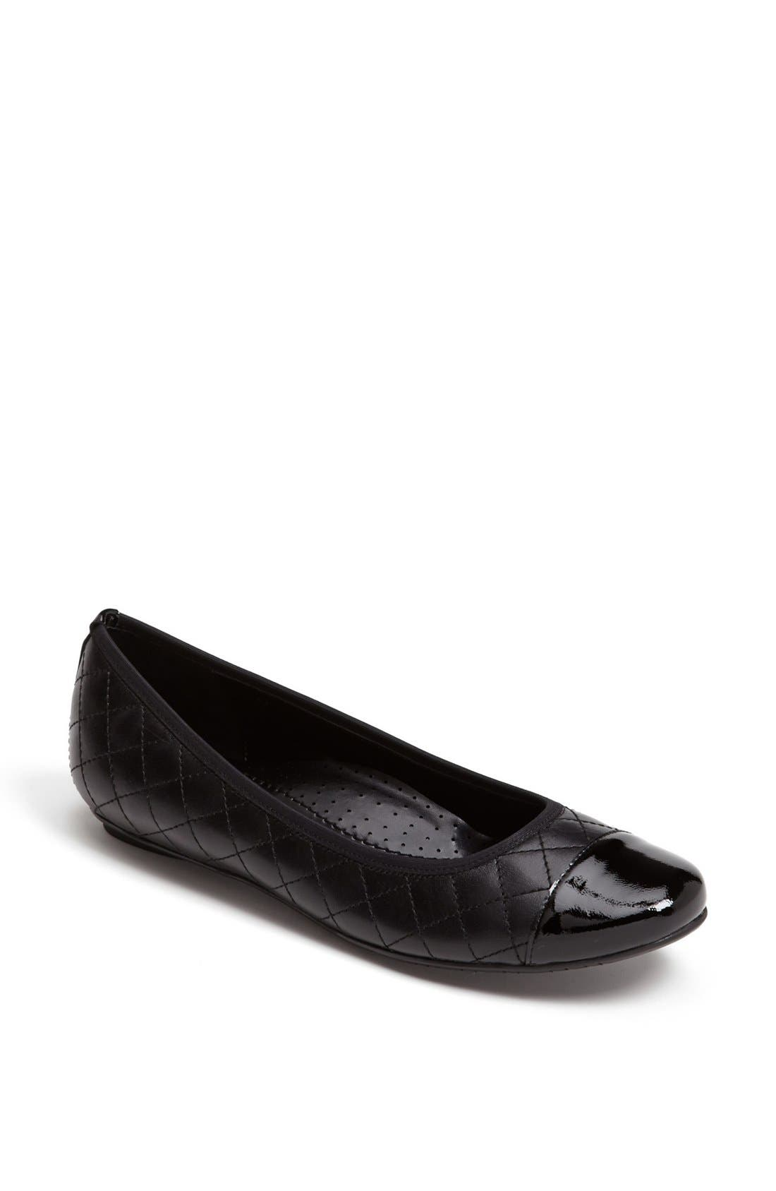 'Serene' Flat,                         Main,                         color, BLACK NAPPA/ BLACK PATENT