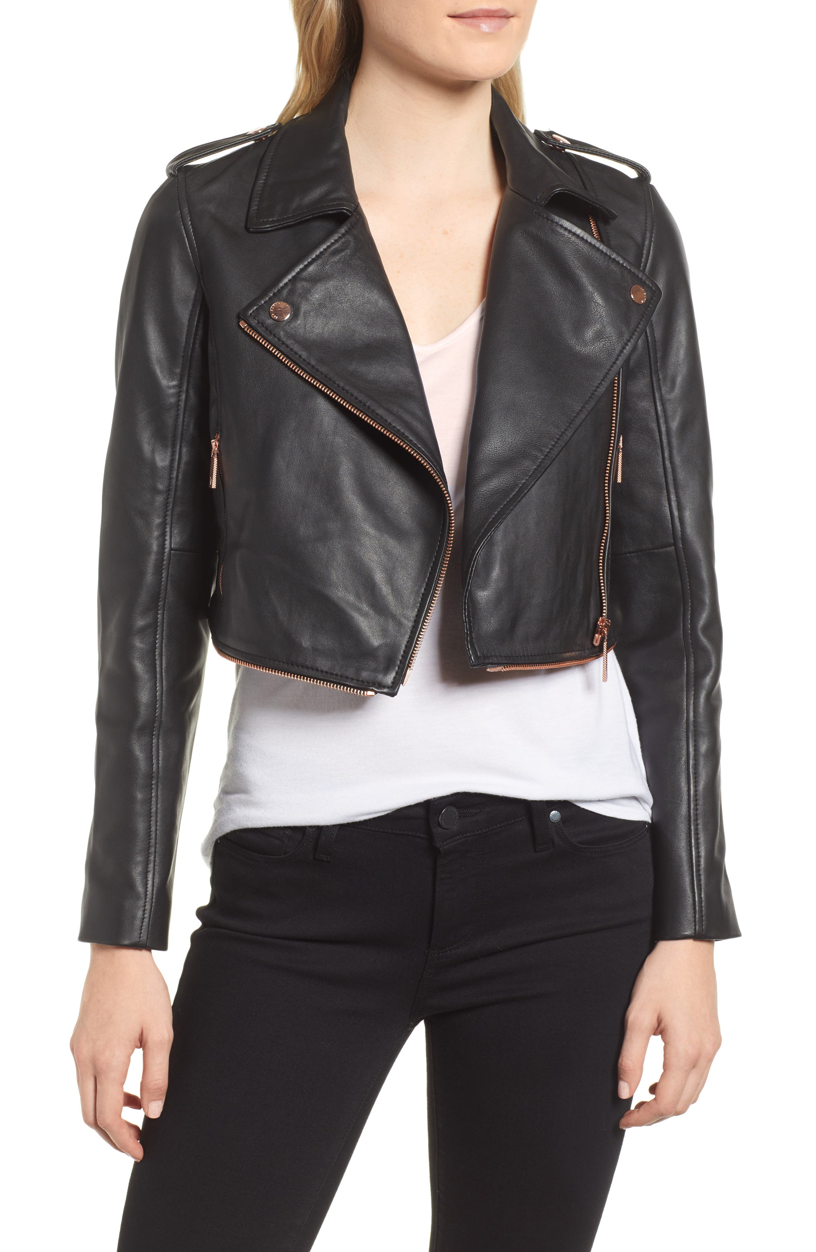Zip-Off Peplum Leather Biker Jacket,                             Alternate thumbnail 4, color,                             001