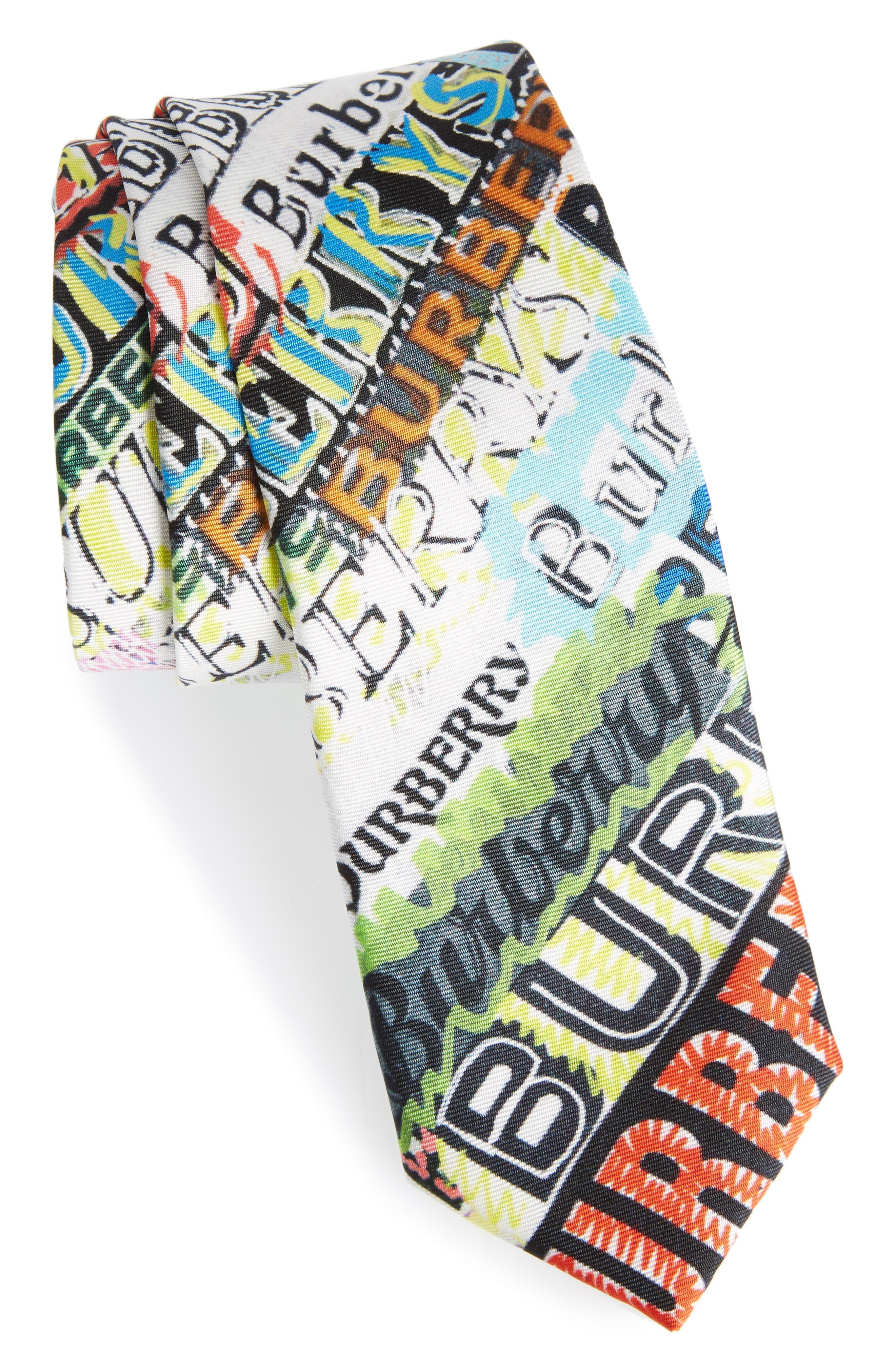 Stanfield Tag Print Silk Skinny Tie,                         Main,                         color, MULTICOLOUR