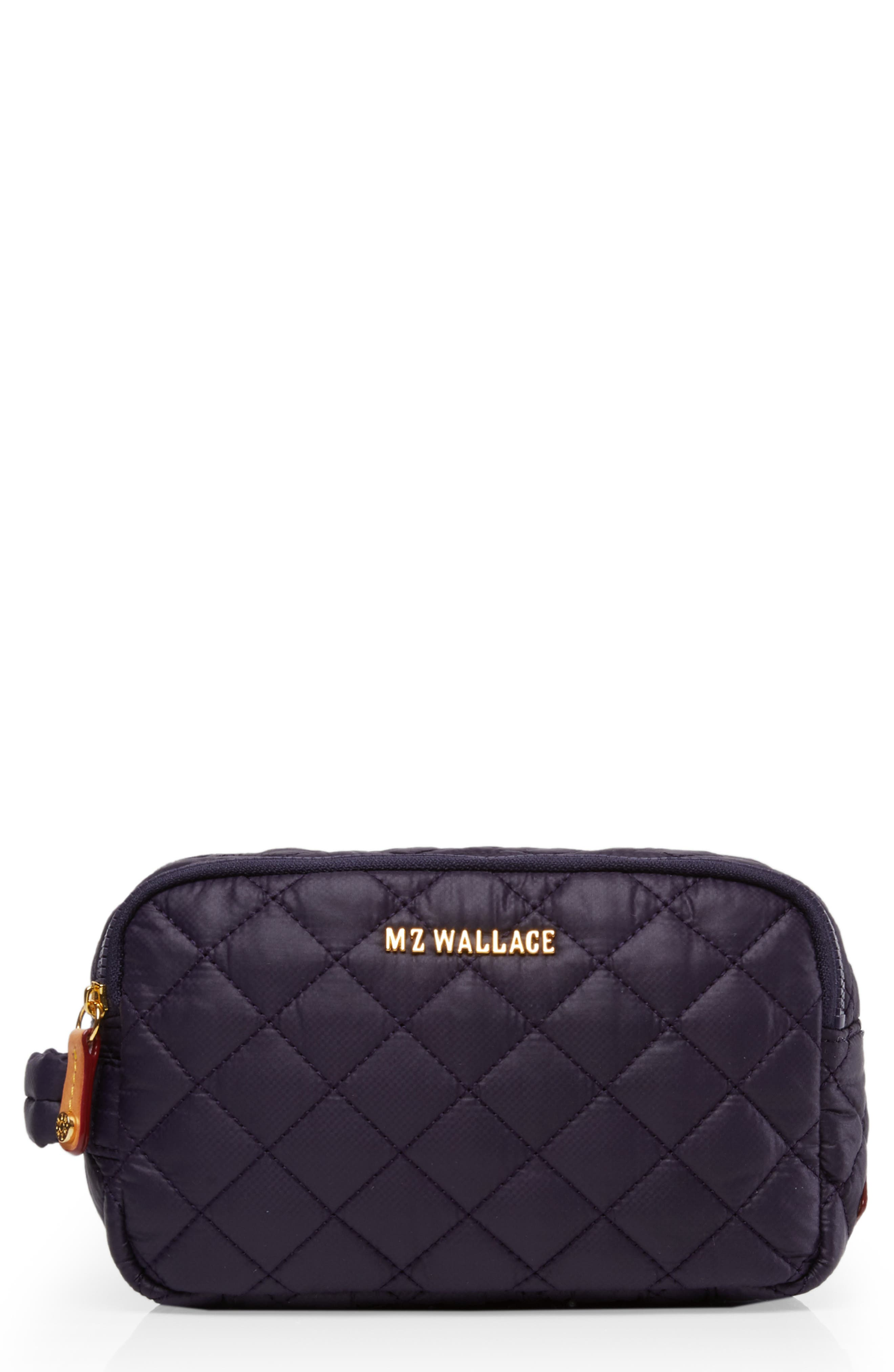 Sam Quilted Nylon Cosmetics Case in Boysenberry