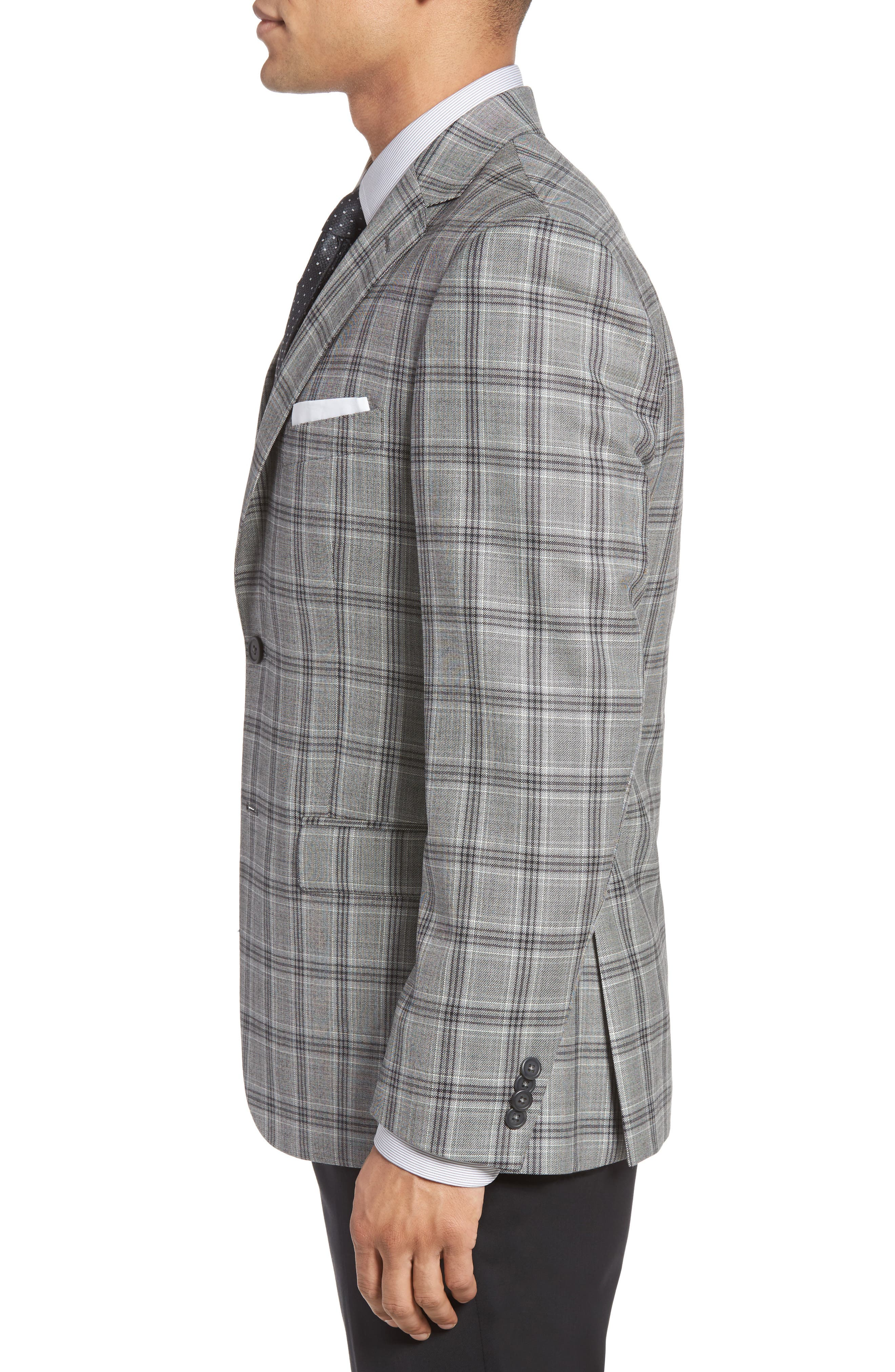 Classic Fit Plaid Wool Sport Coat,                             Alternate thumbnail 3, color,                             041