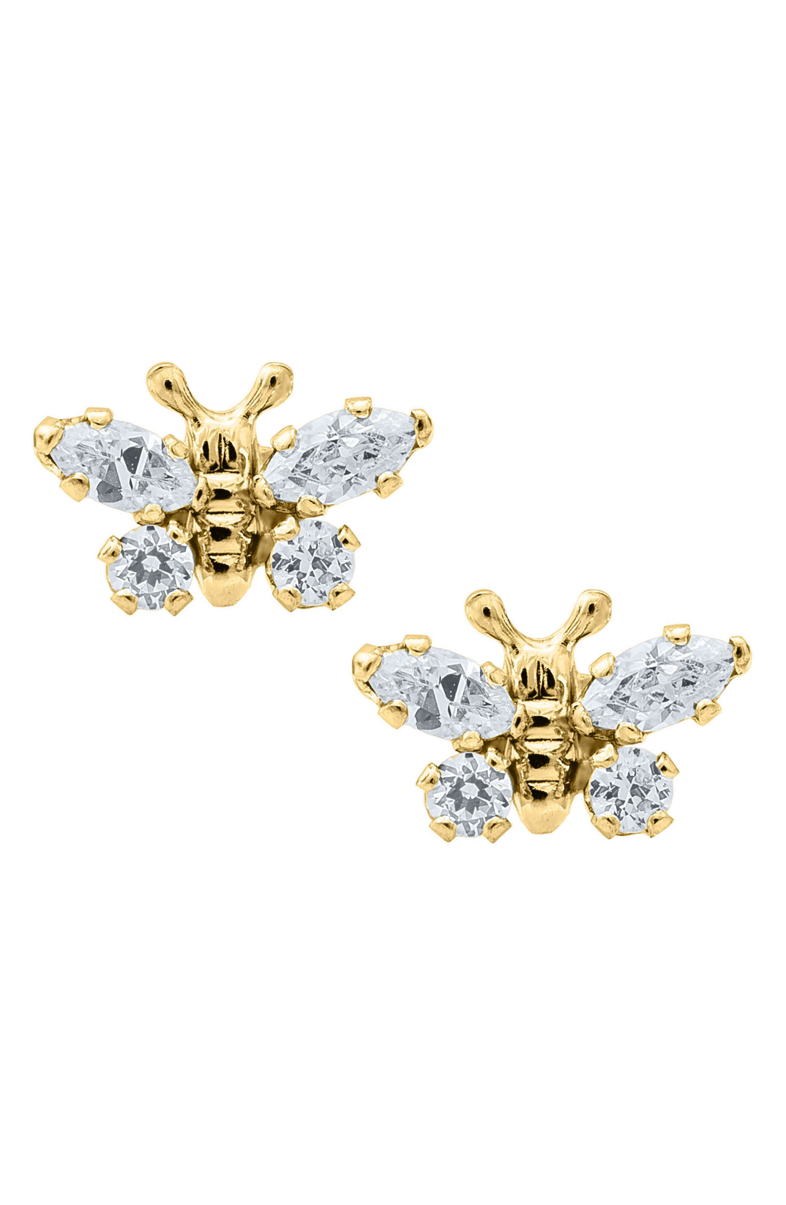 MIGNONETTE Butterfly Birthstone Gold Earrings, Main, color, APRIL