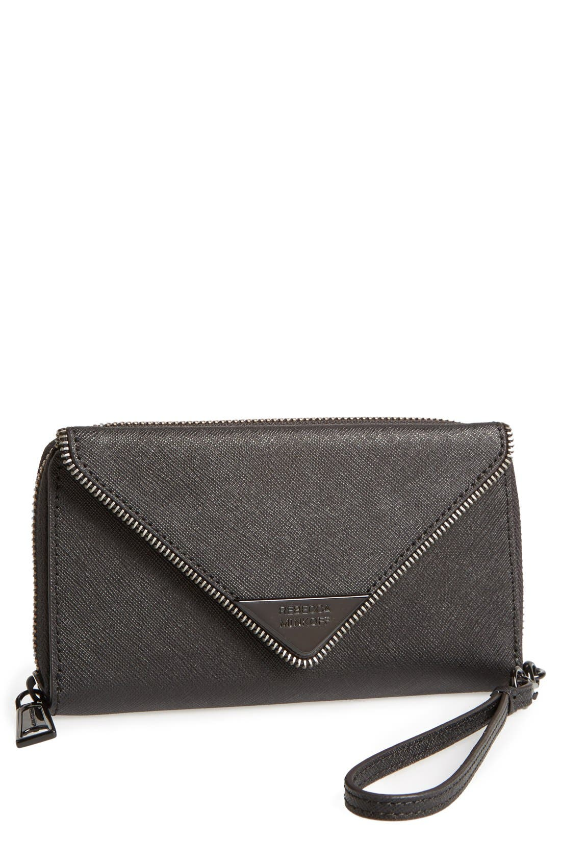 REBECCA MINKOFF 'Zoey Tech' Wristlet, Main, color, 001