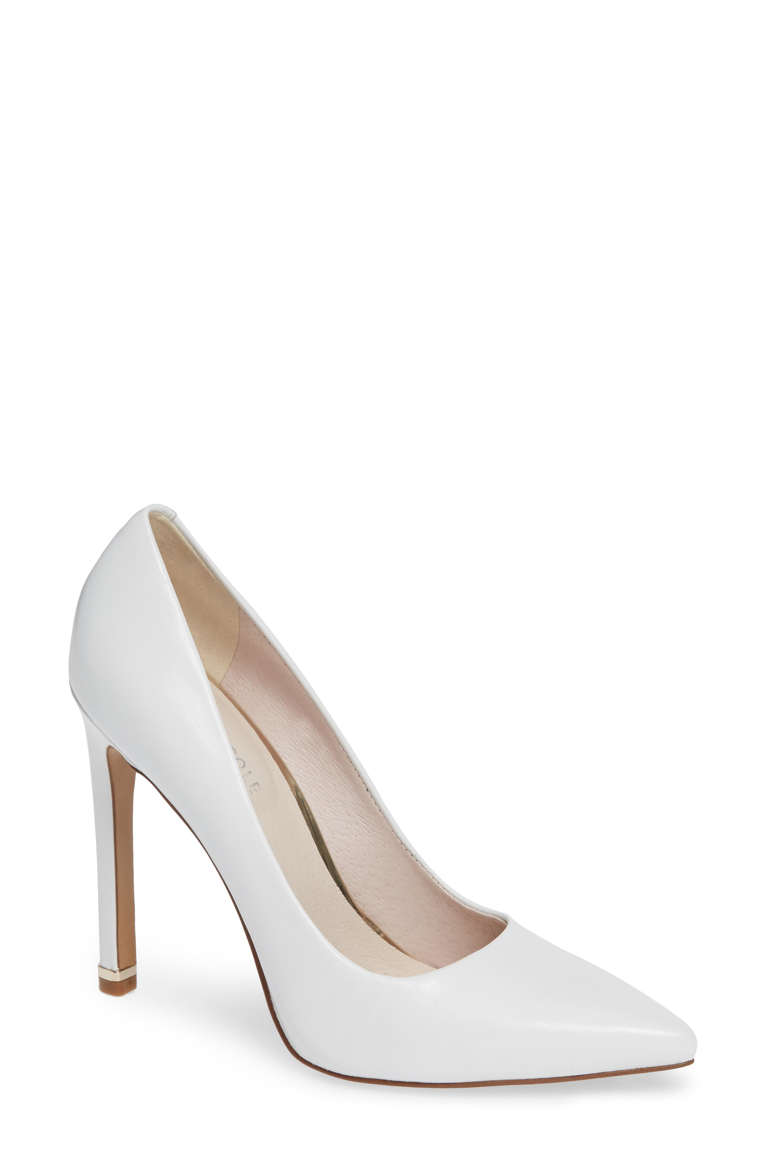 Riley 110 Pointy Toe Pump,                             Main thumbnail 1, color,                             WHITE LEATHER