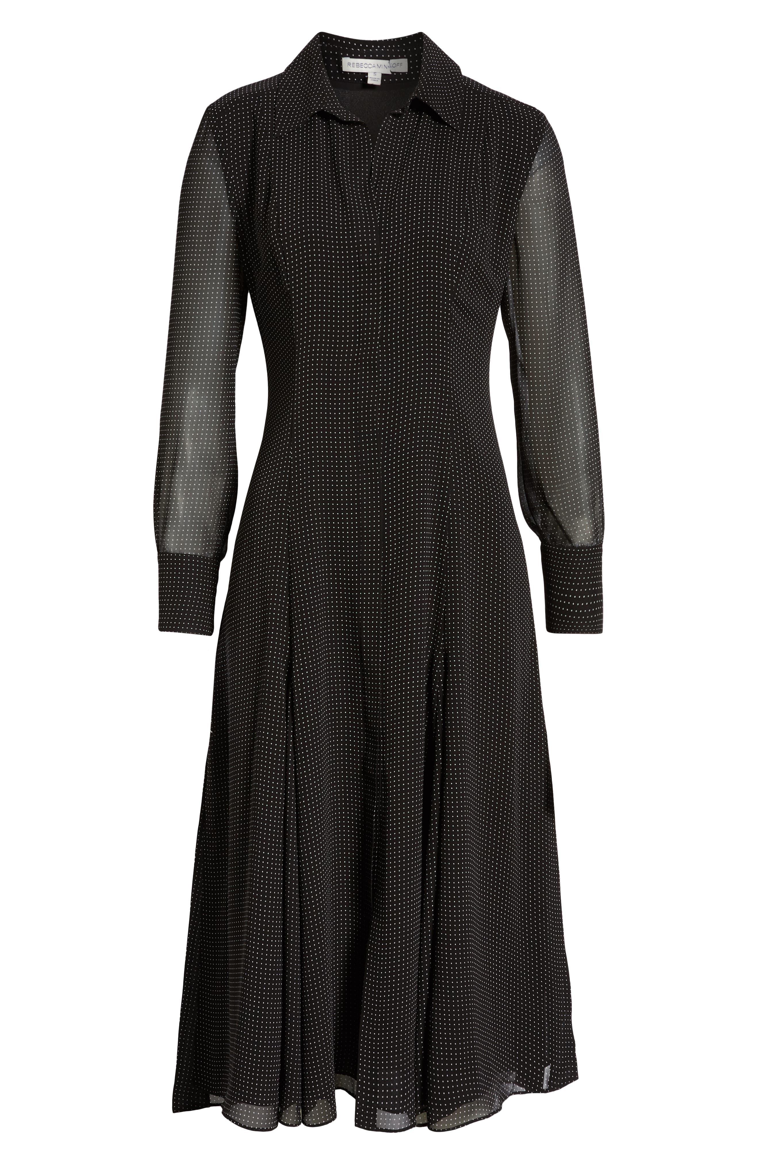 REBECCA MINKOFF,                             Kimberly Dot Sheer Sleeve Dress,                             Alternate thumbnail 7, color,                             BLACK/ WHITE