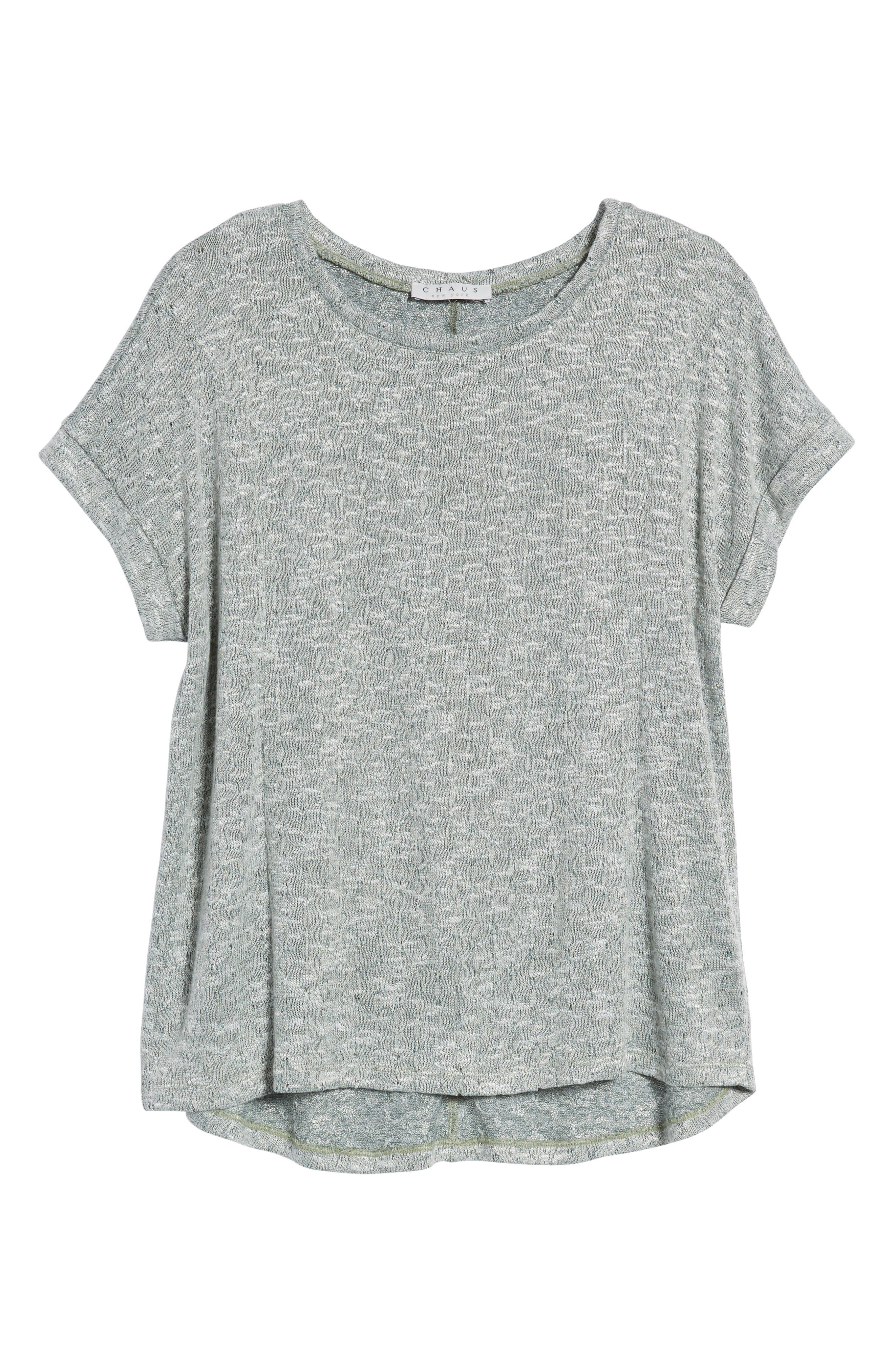 Marled Knit Short Sleeve Top,                             Alternate thumbnail 7, color,