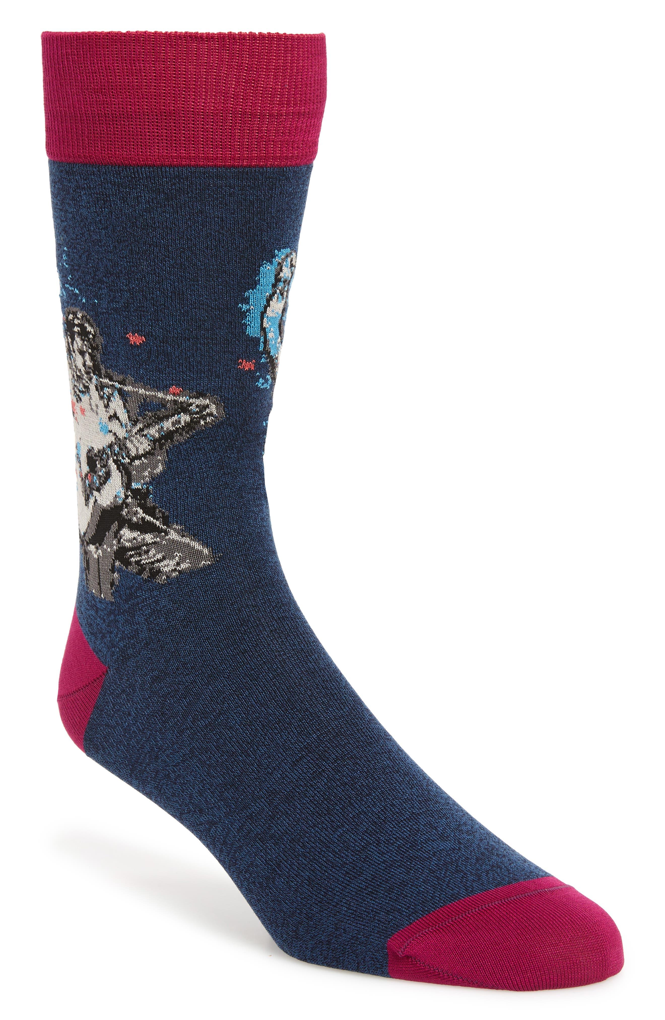 men's bugatchi guitarist socks, size one size - blue