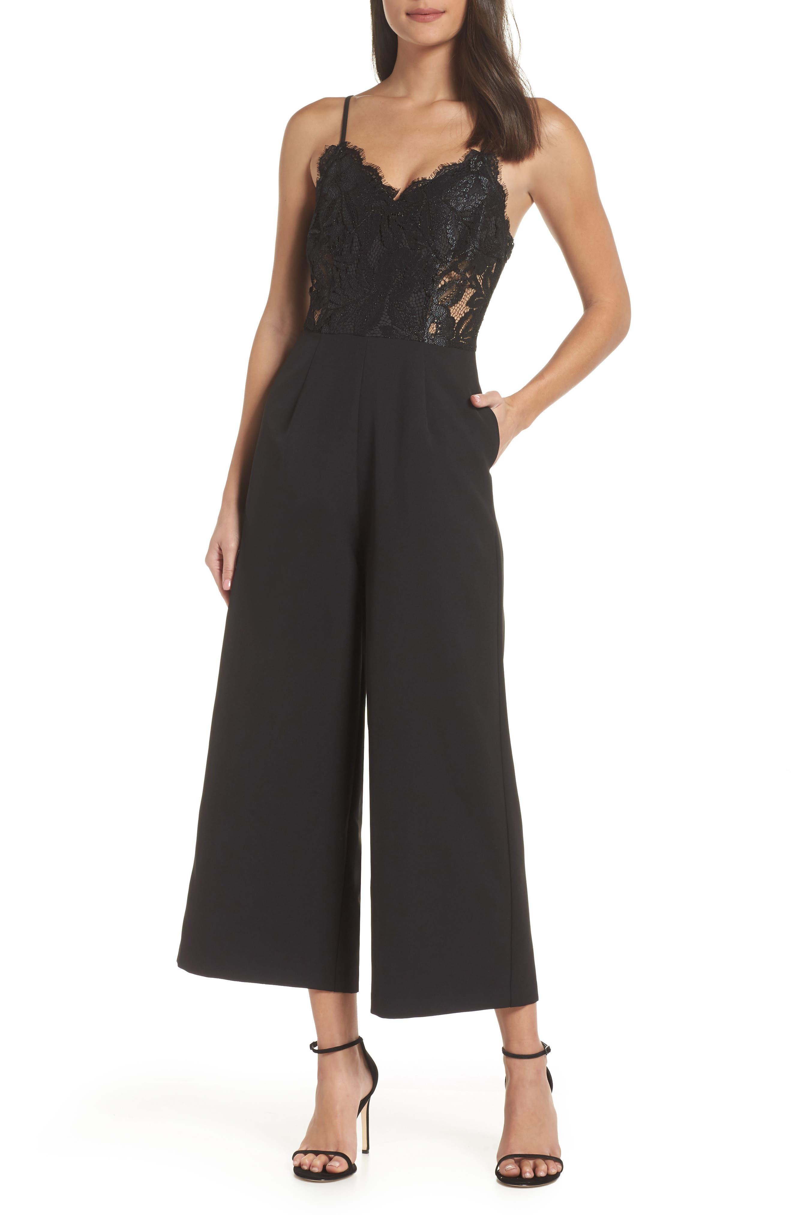Josephine Wide Leg Crop Lace Jumpsuit,                         Main,                         color, BLACK