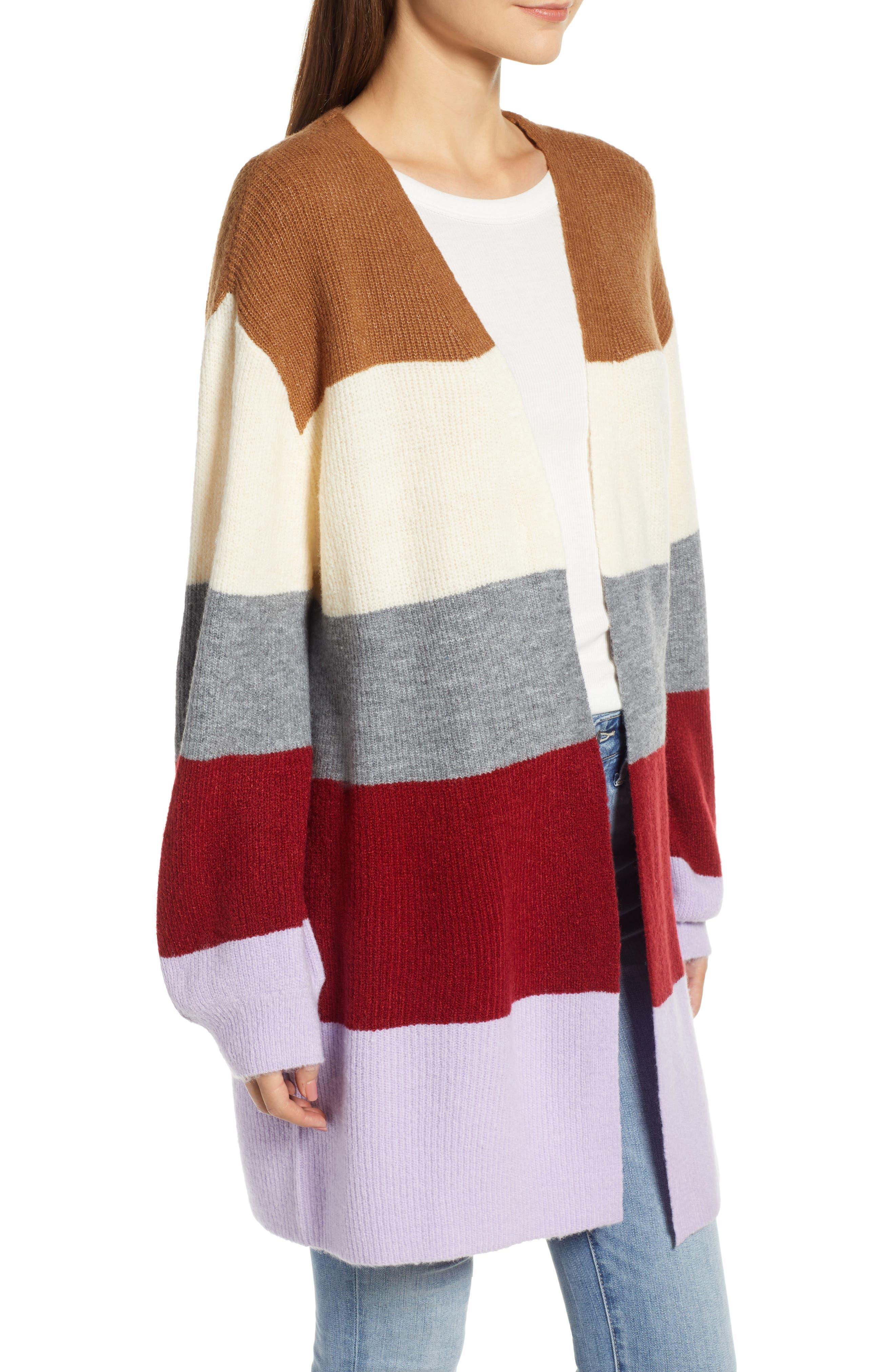 Stripe Cardigan,                             Alternate thumbnail 3, color,                             LAVENDER STRIPE