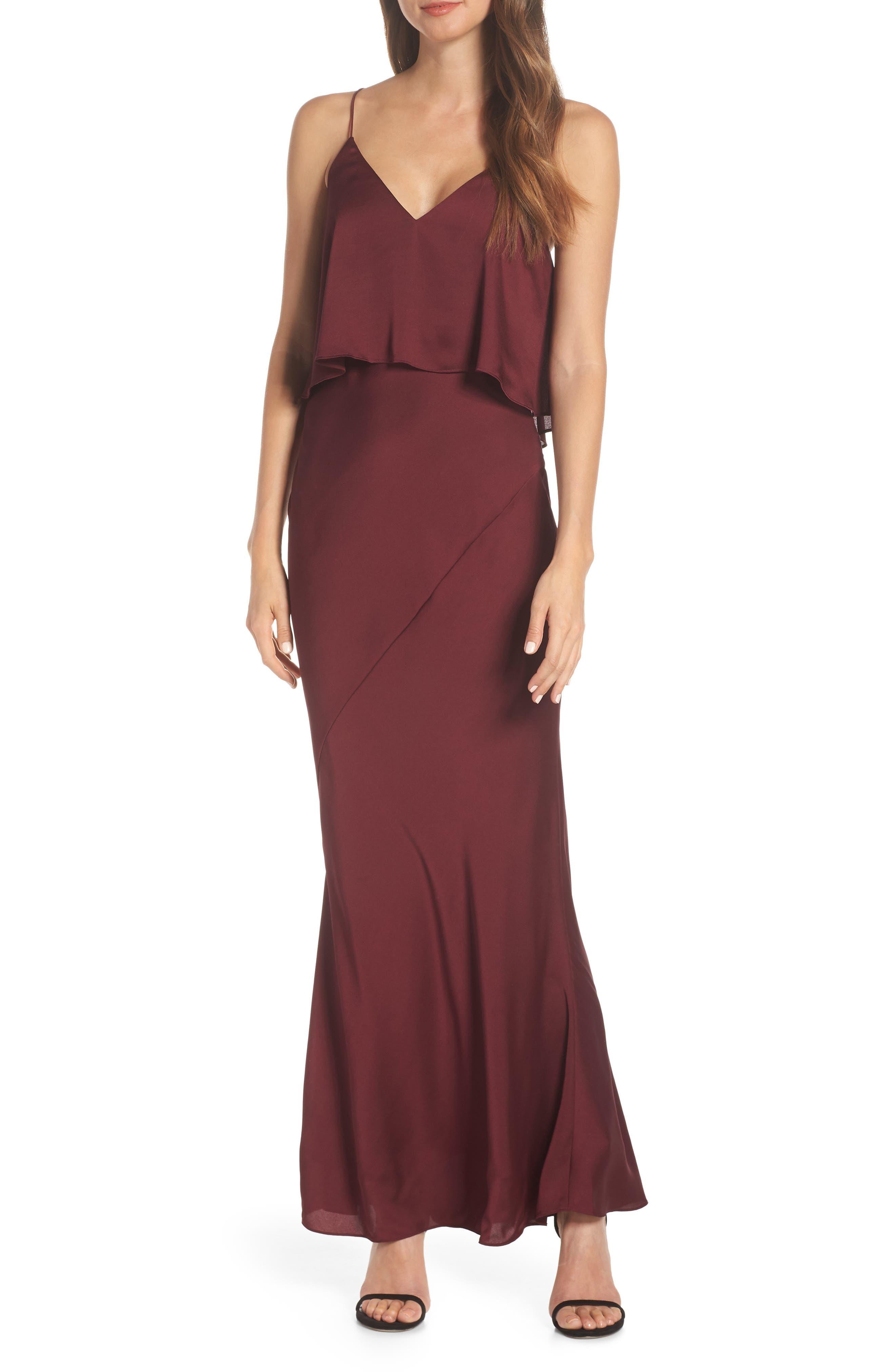 SHONA JOY Luxe Frilled Bodice Bias Cut Gown in Garnet