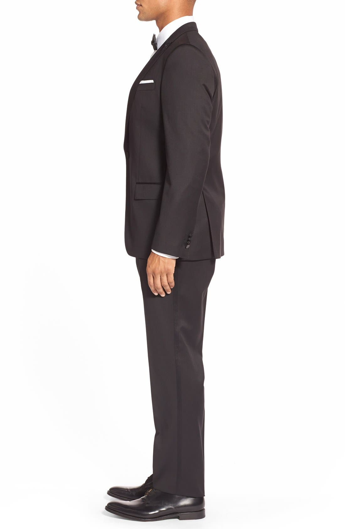 Trim Fit Wool Tuxedo,                             Alternate thumbnail 2, color,                             BLACK