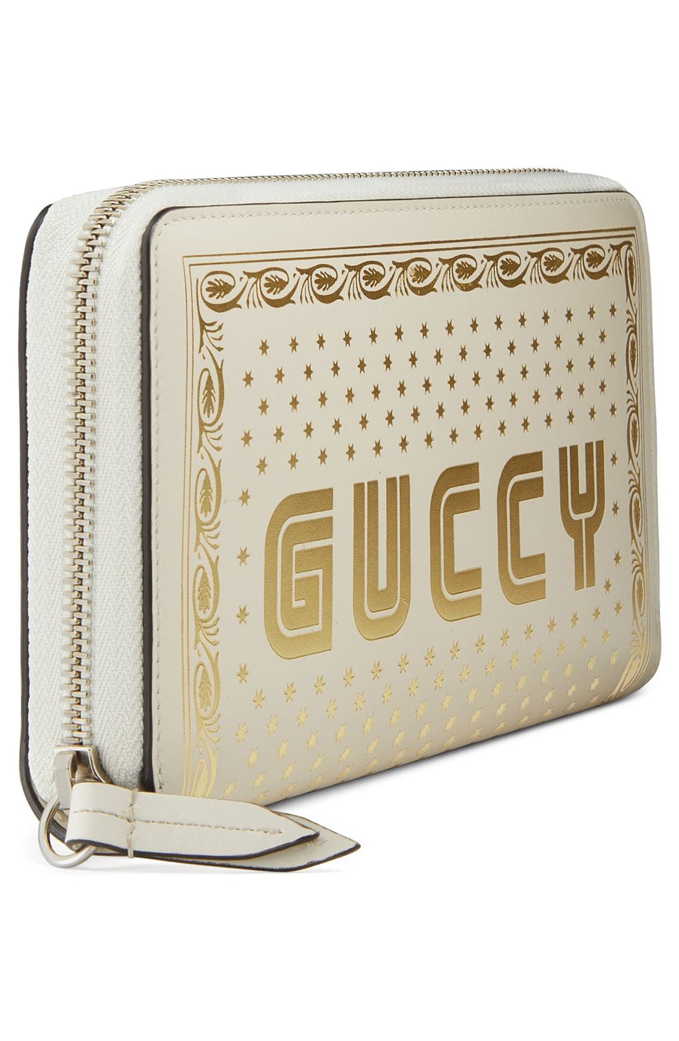 Guccy Logo Moon & Stars Leather Zip Wallet,                             Alternate thumbnail 4, color,                             MYSTIC WHITE/ ORO