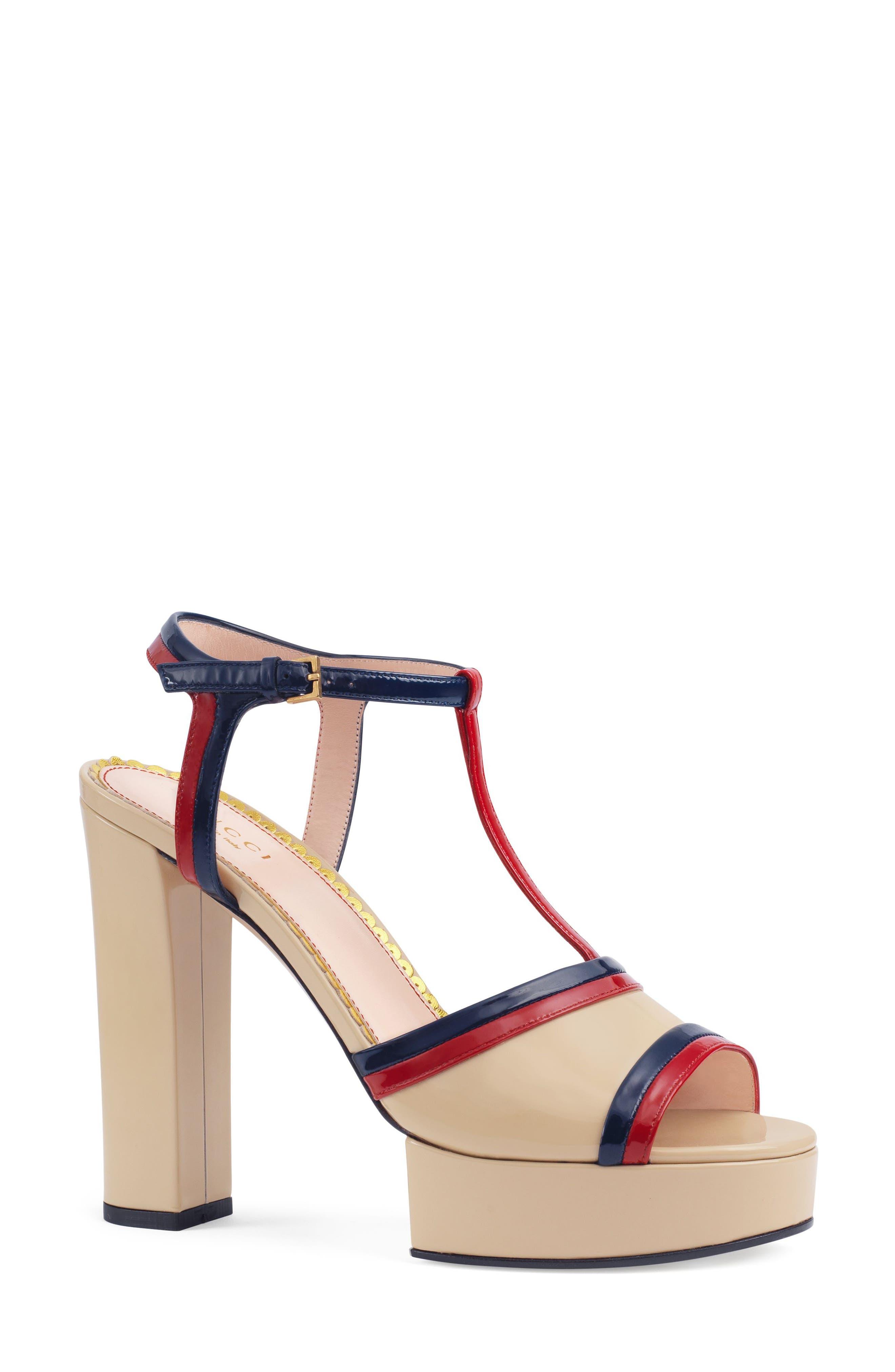 Millie T-Strap Platform Sandal,                             Main thumbnail 1, color,                             BEIGE/ RED/ BLUE