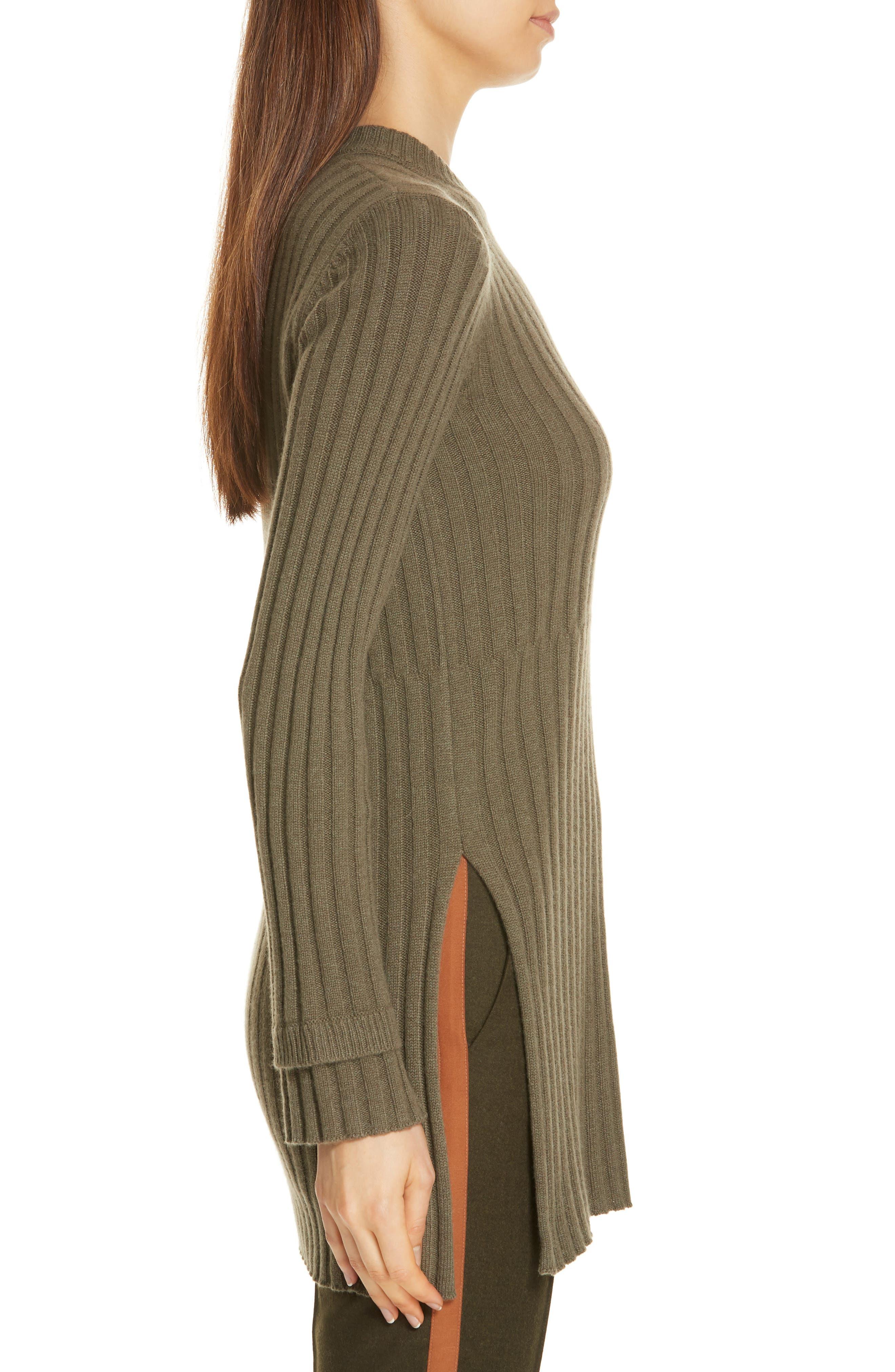 Rib Knit Cashmere Tunic,                             Alternate thumbnail 3, color,                             OLIVE IVY HEATHER