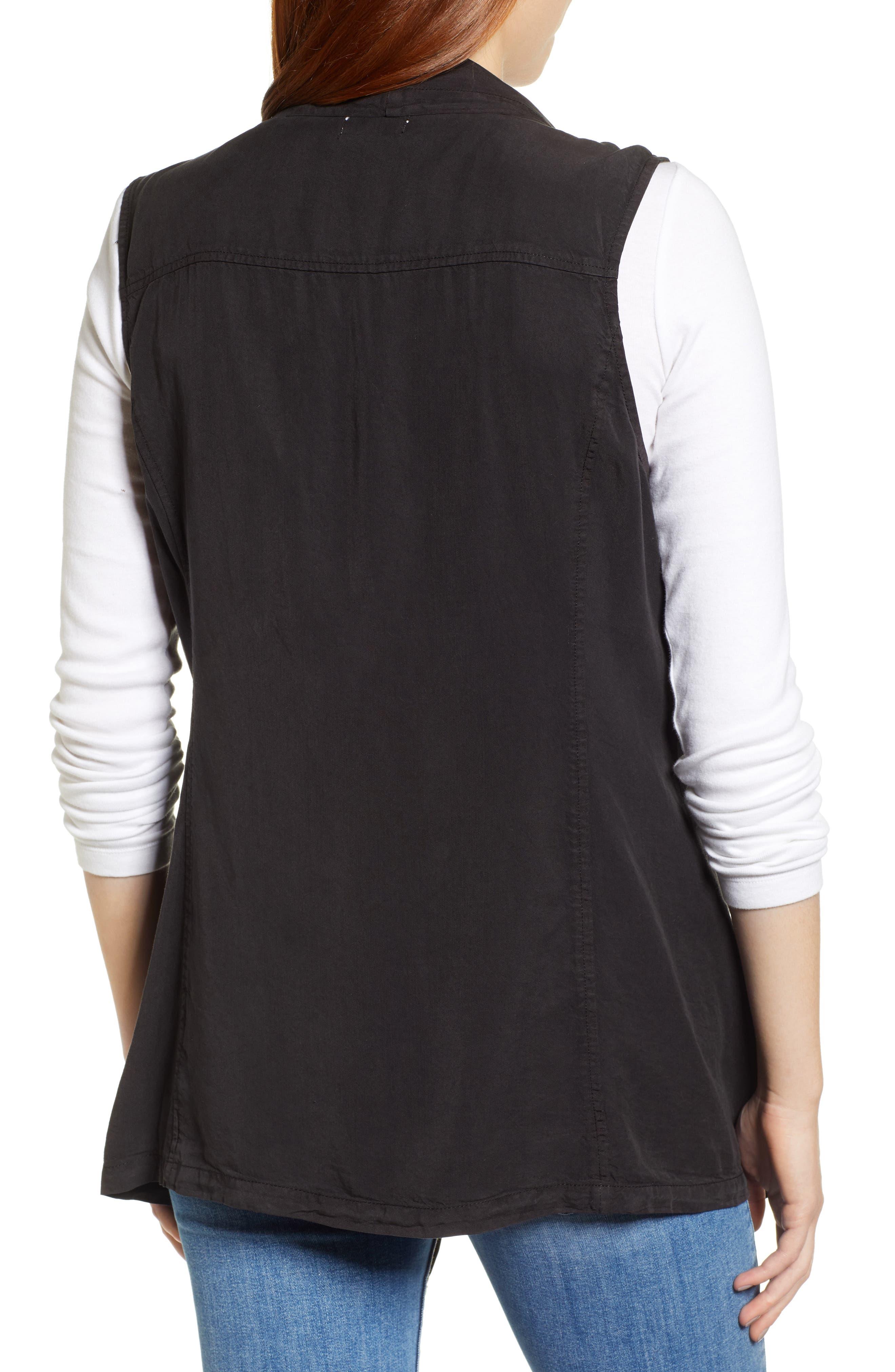 Drape Front Vest,                             Alternate thumbnail 2, color,                             BLACK SOOT