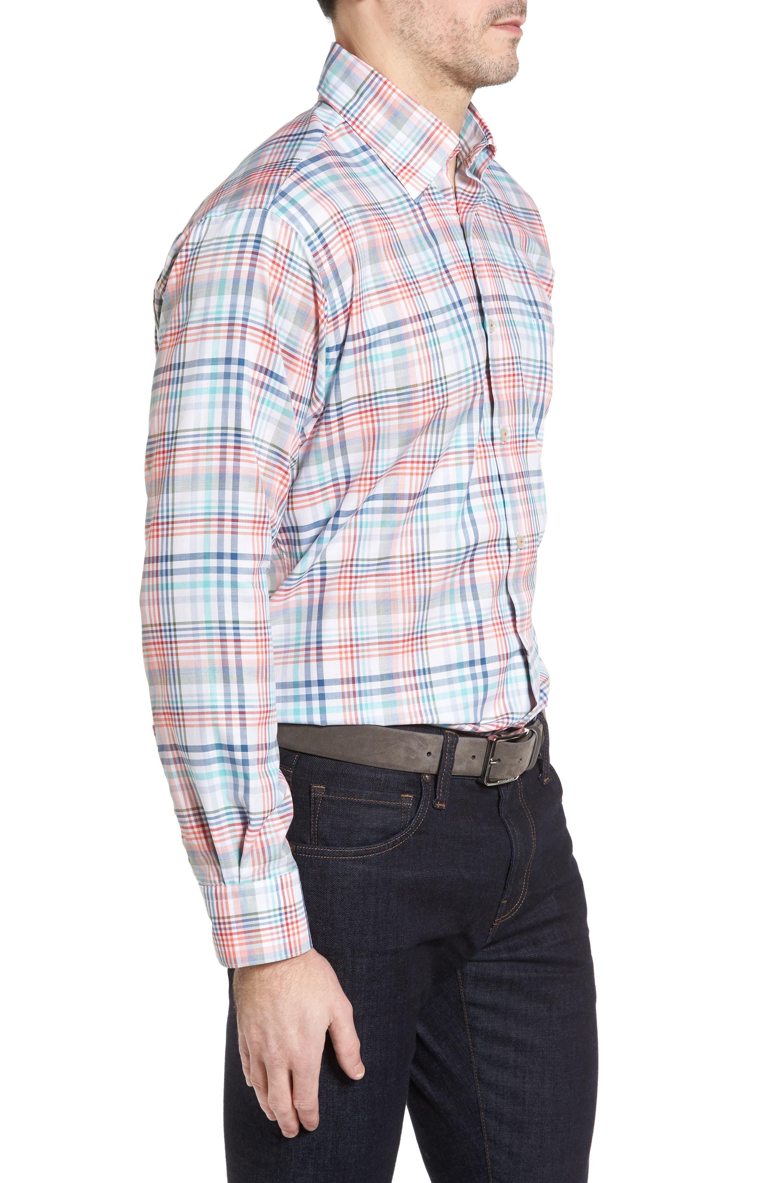 ROBERT TALBOTT,                             Anderson Classic Fit Plaid Twill Sport Shirt,                             Alternate thumbnail 3, color,                             860