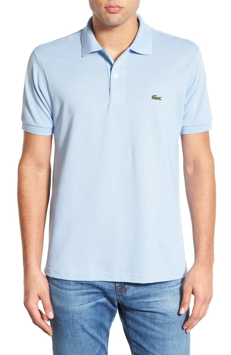 Lacoste L1212 Regular Fit Pique Polo In Light Blue