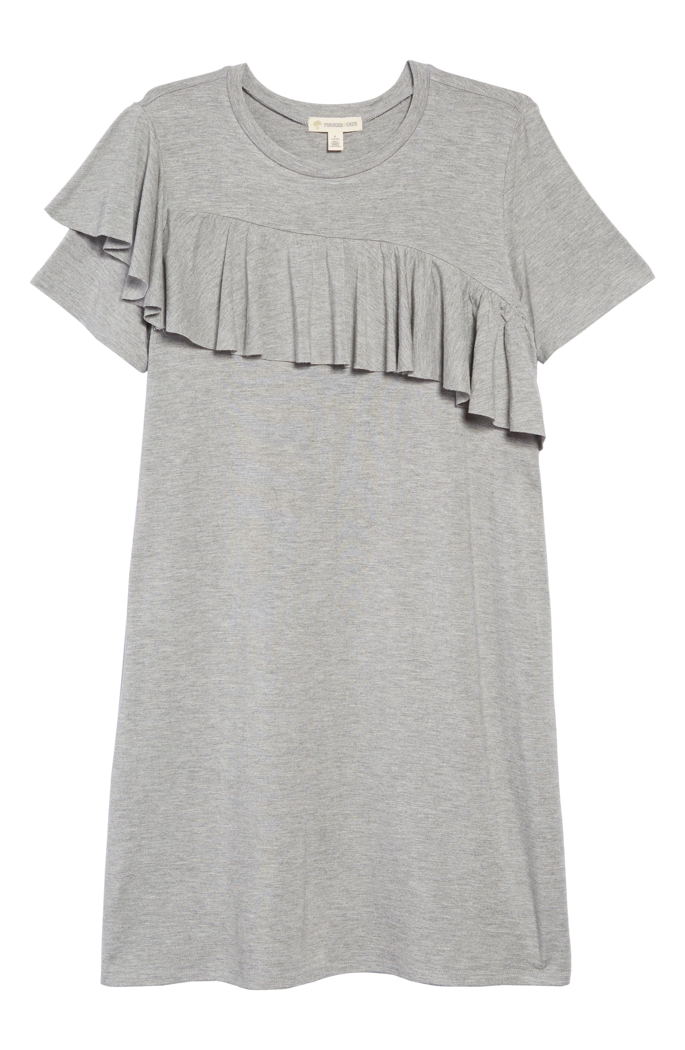 Asymmetrical Ruffle T-Shirt Dress,                             Main thumbnail 1, color,                             030