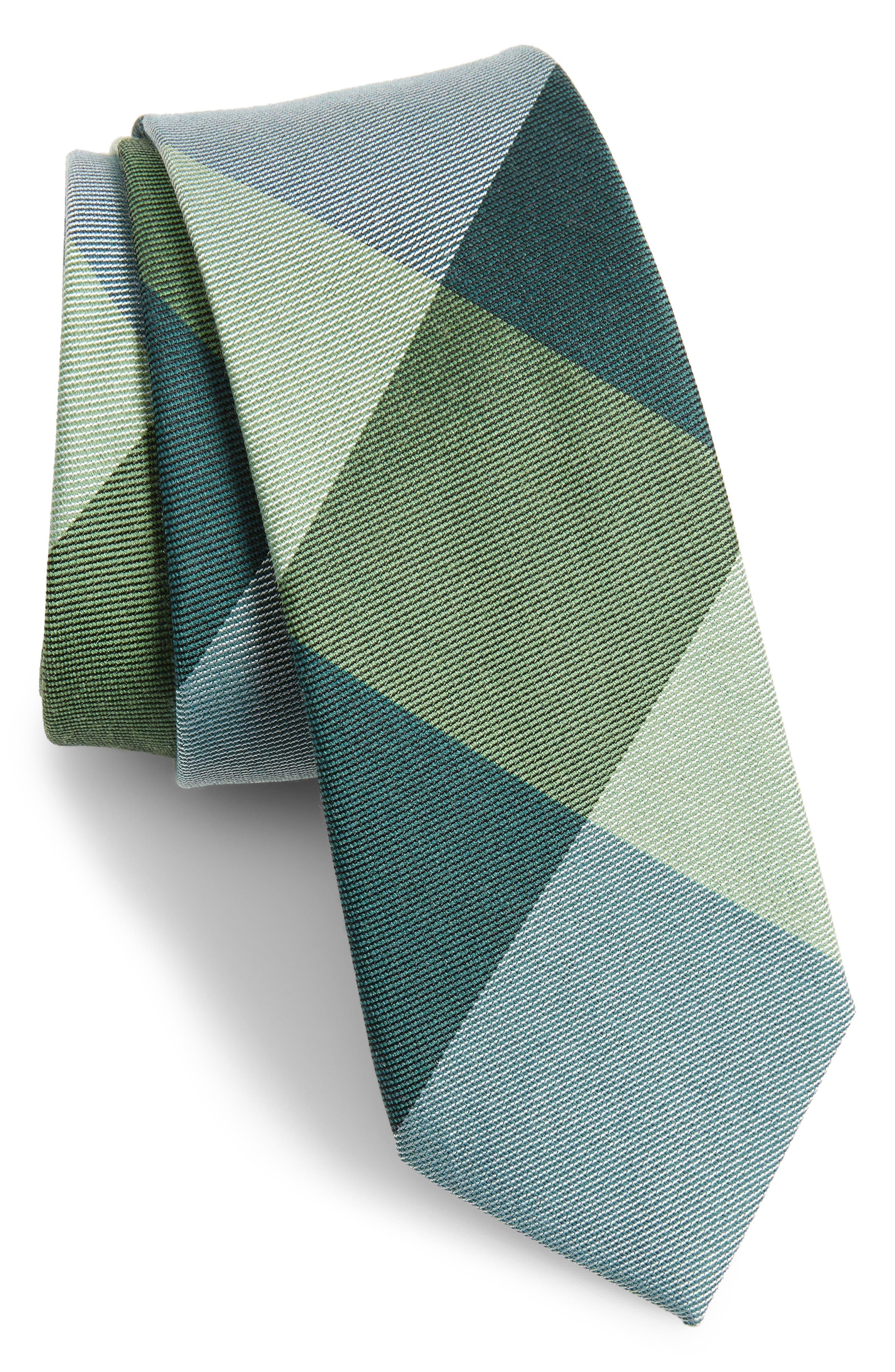 West Bison Plaid Wool & Silk Skinny Tie,                         Main,                         color, 300