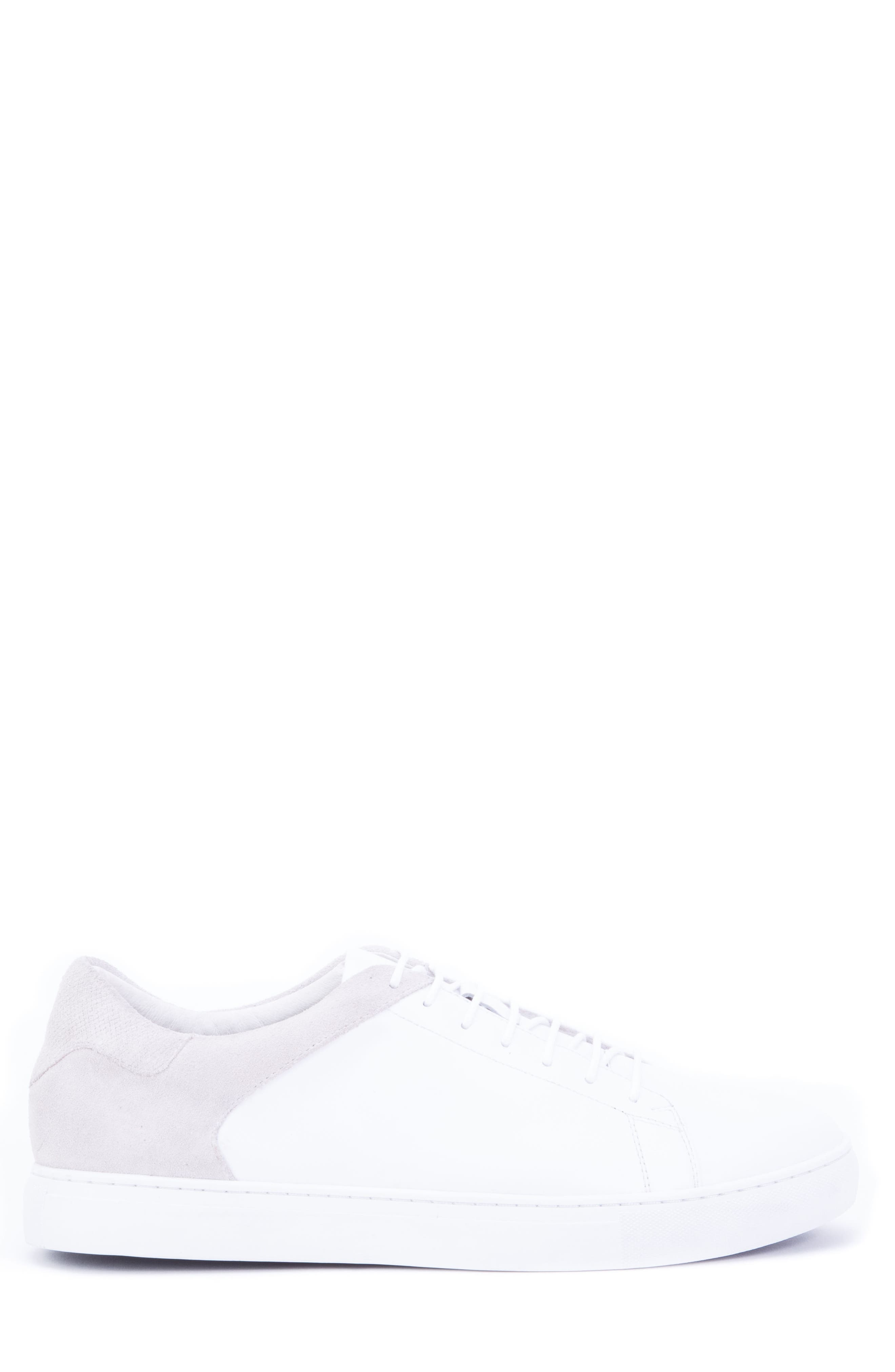 Cue Low Top Sneaker,                             Alternate thumbnail 3, color,                             WHITE LEATHER/ SUEDE