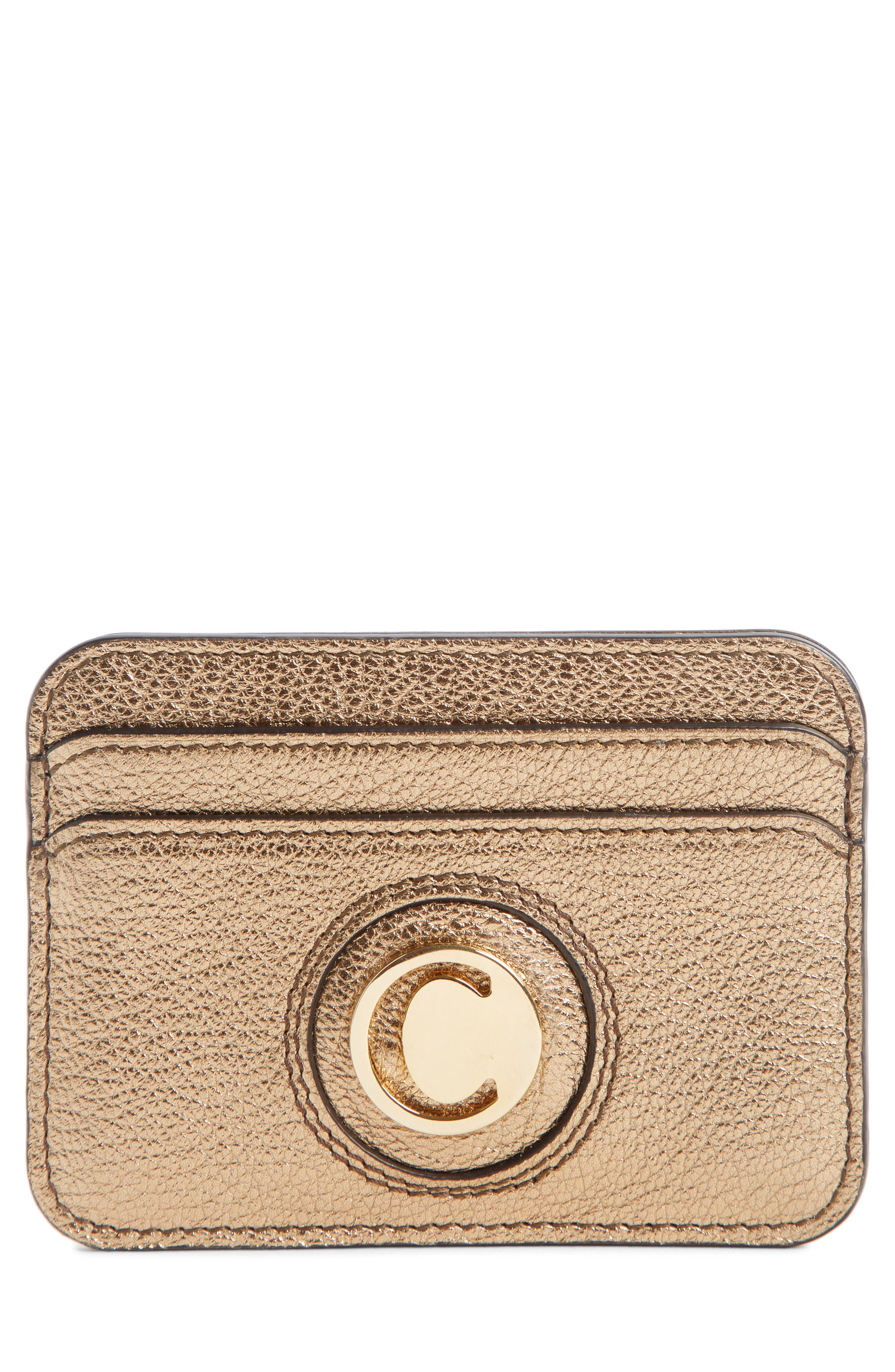 Metallic Leather Card Case,                         Main,                         color, GOLD