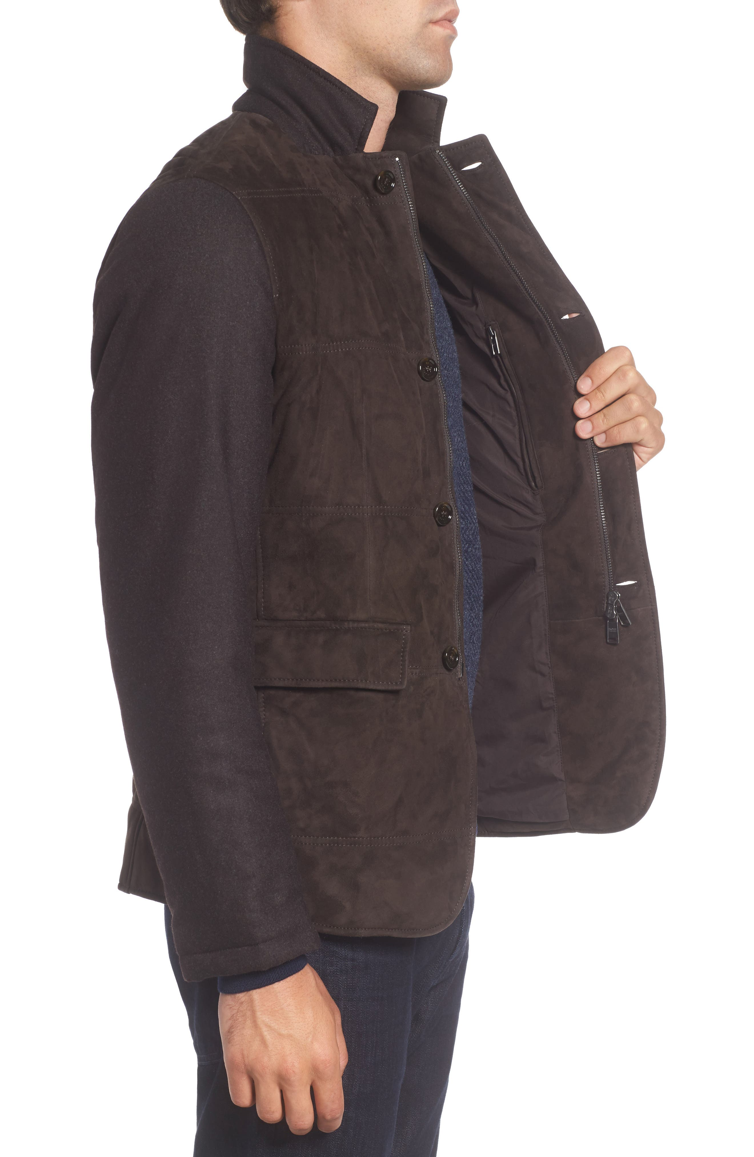T-Cobas Slim Fit Mixed Media Jacket,                             Alternate thumbnail 3, color,