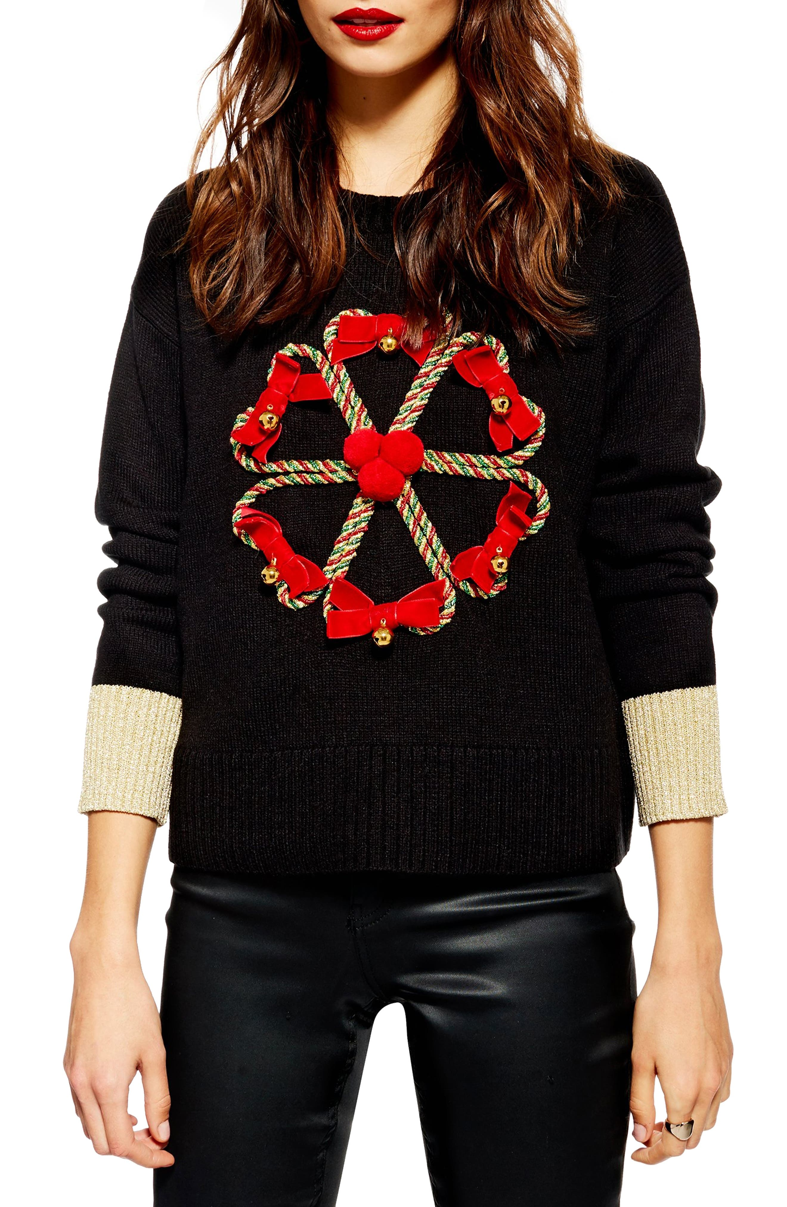 TOPSHOP Christmas Candy Cane Wreath Sweater, Main, color, 001