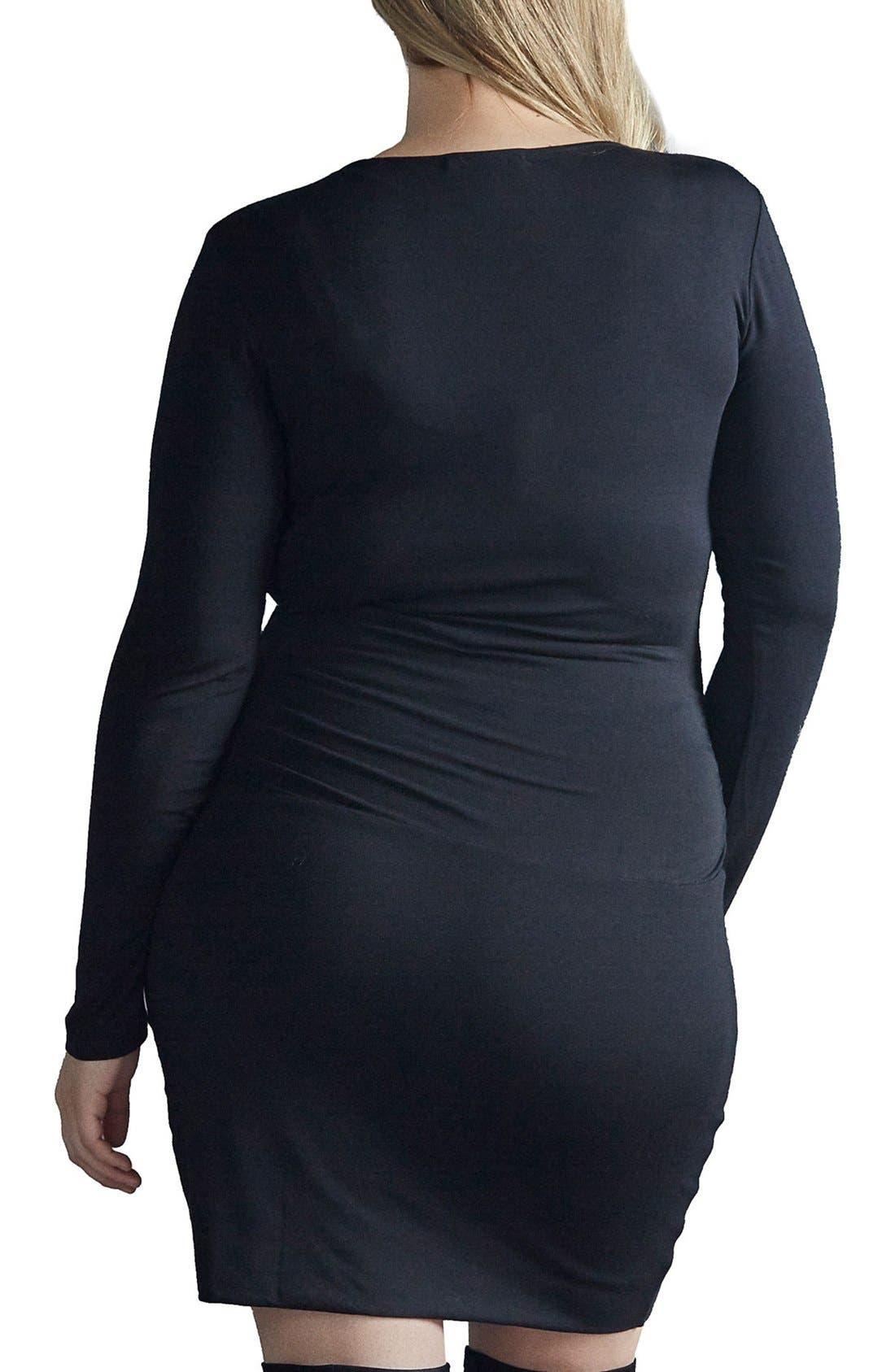 Peaches Surplice Body-Con Dress,                             Alternate thumbnail 2, color,                             001