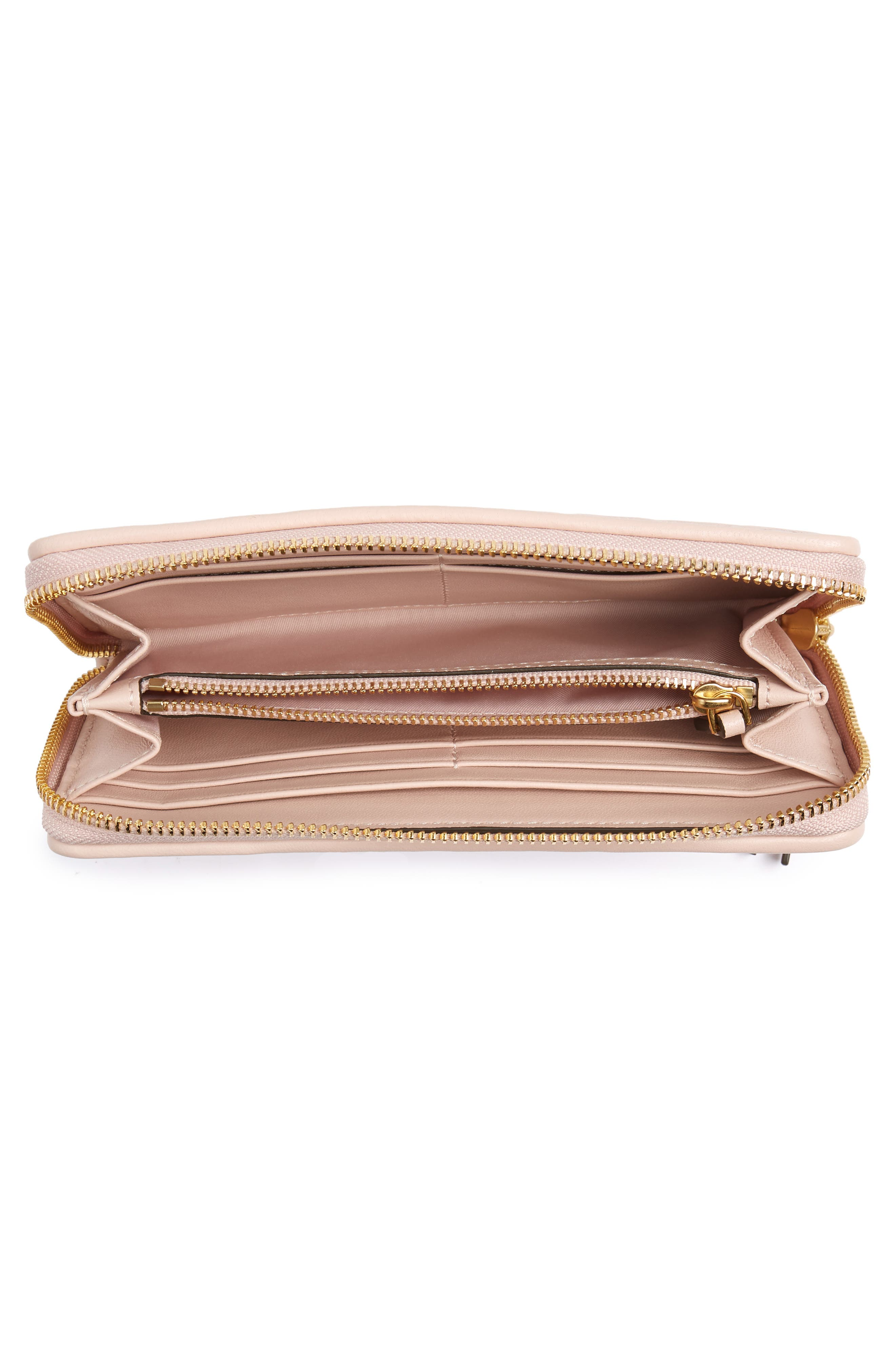 Fleming Leather Zip Around Wallet,                             Alternate thumbnail 4, color,                             SHELL PINK