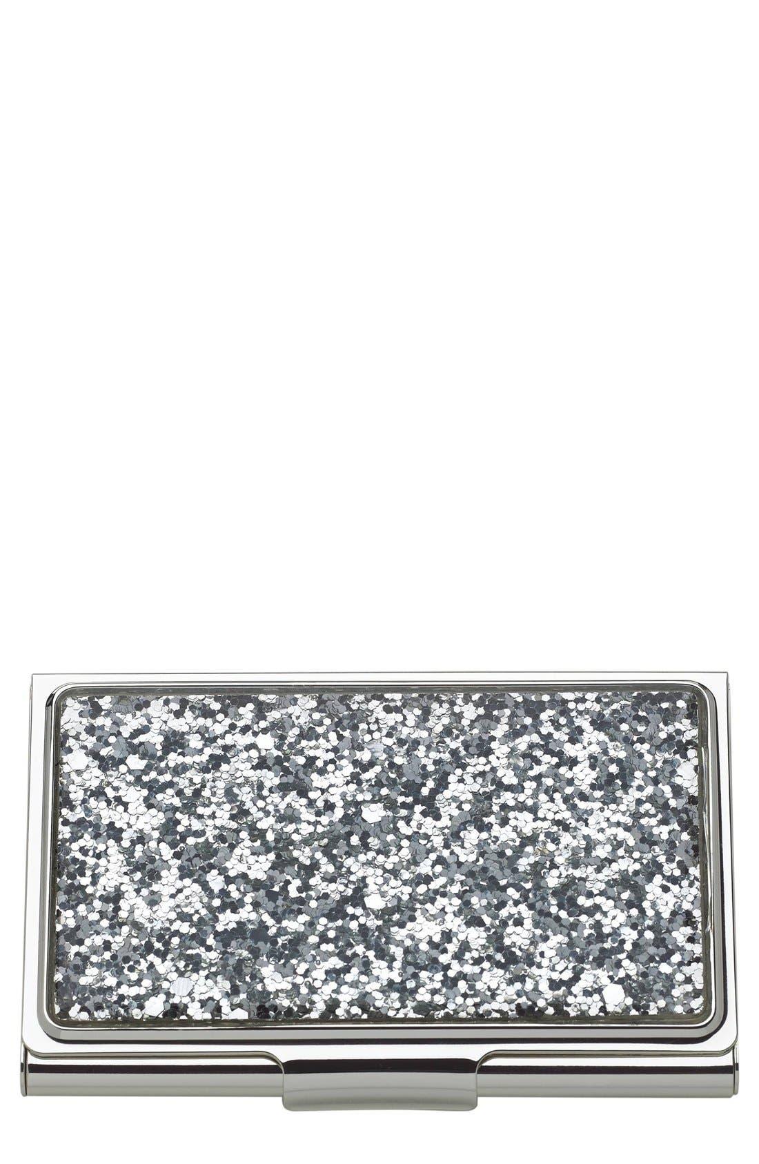 KATE SPADE NEW YORK glitter business card holder, Main, color, 046