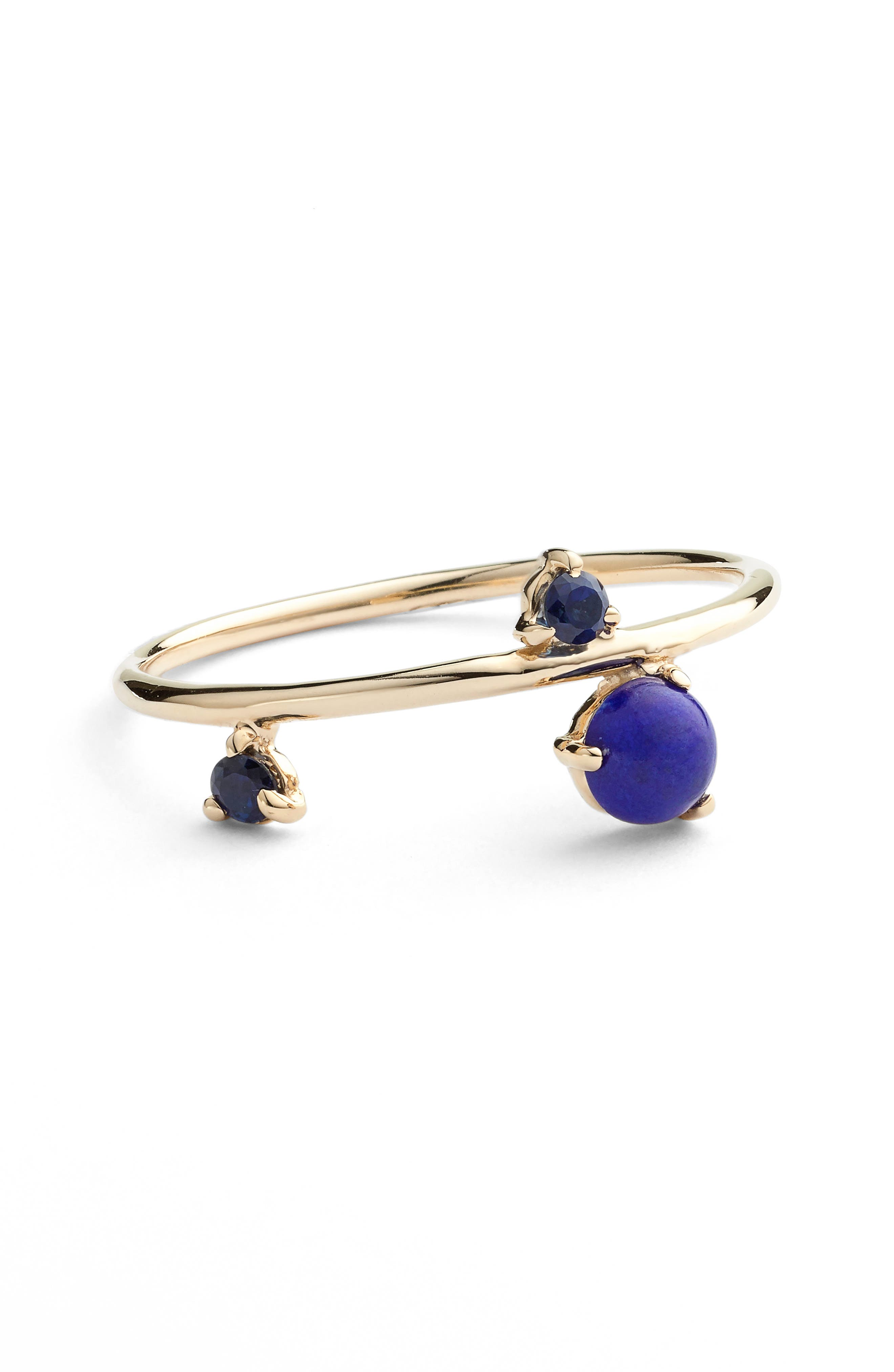 Counting Collection Three-Step Balloon Lapis & Sapphire Ring,                             Alternate thumbnail 4, color,                             YELLOW GOLD
