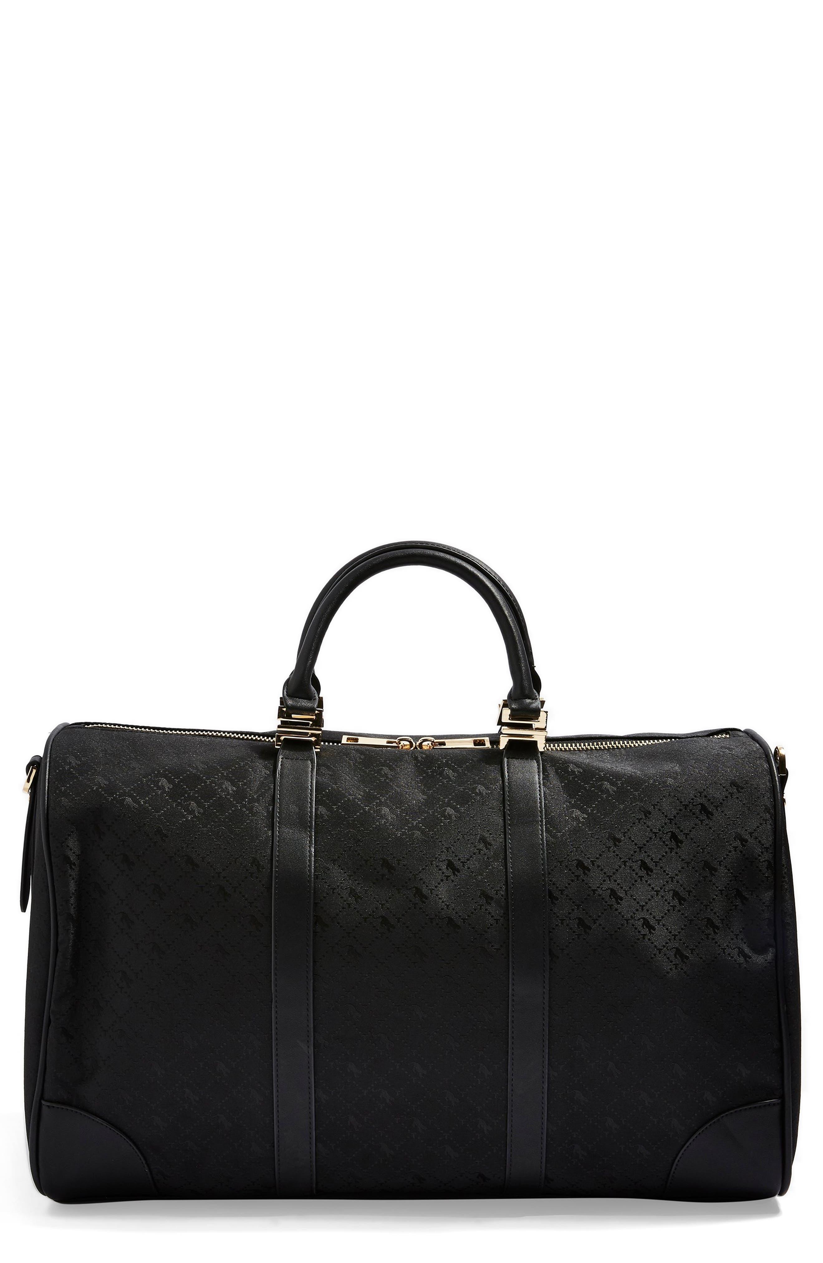 TOPSHOP,                             Large Madrid Duffel Bag,                             Main thumbnail 1, color,                             BLACK