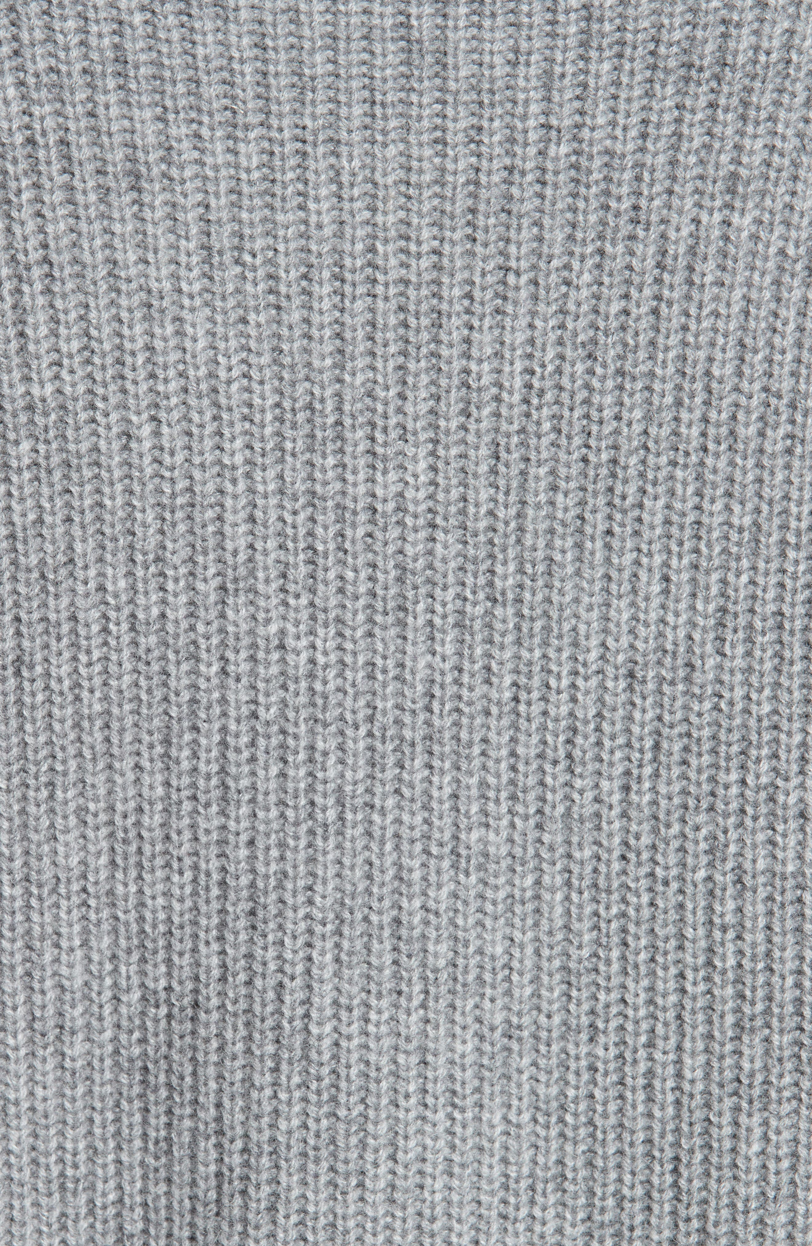 Side Split Merino Wool & Cashmere Blend Sweater,                             Alternate thumbnail 6, color,                             HEATHER GREY