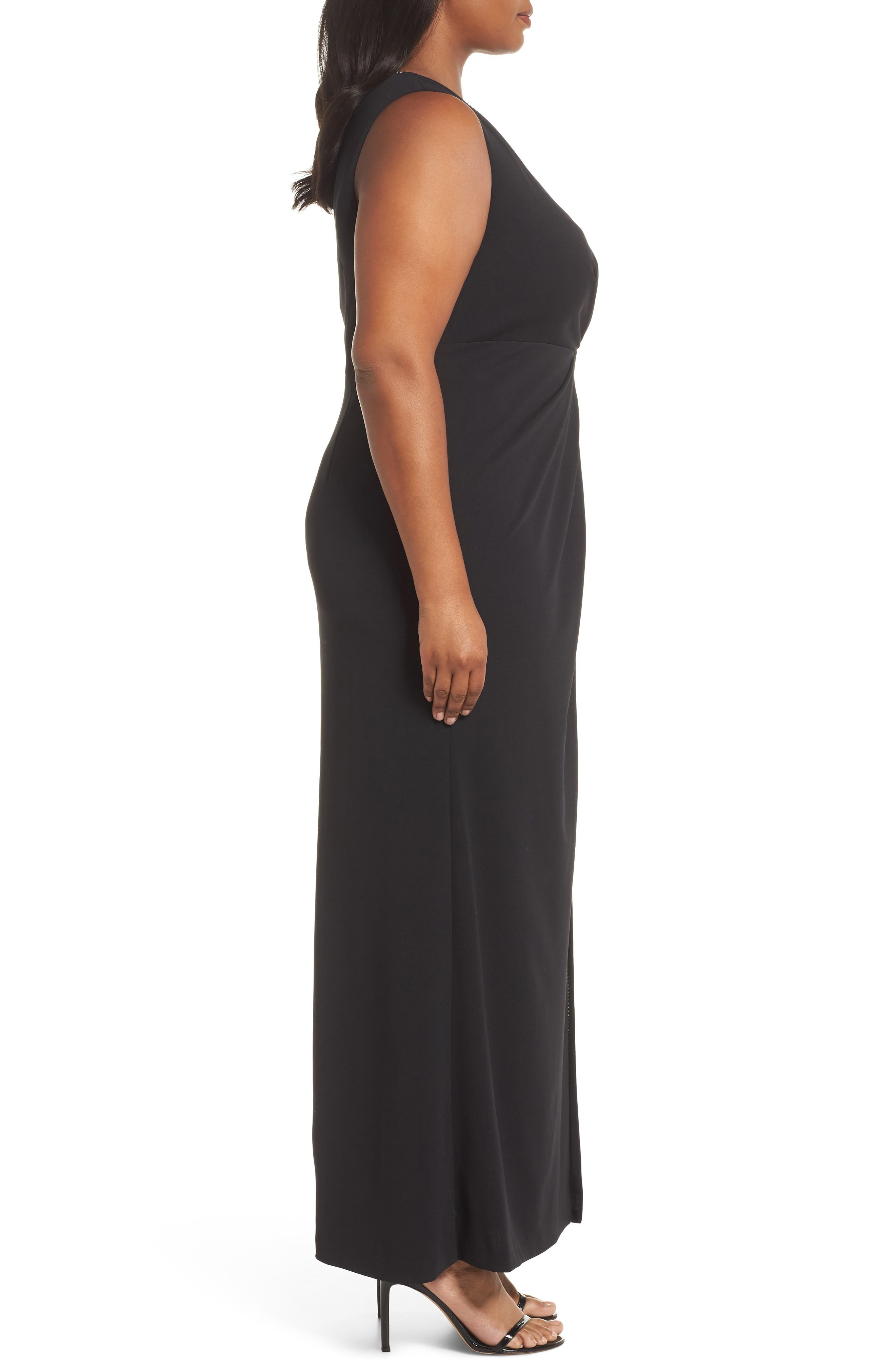 Beaded Trim Gown,                             Alternate thumbnail 3, color,                             BLACK