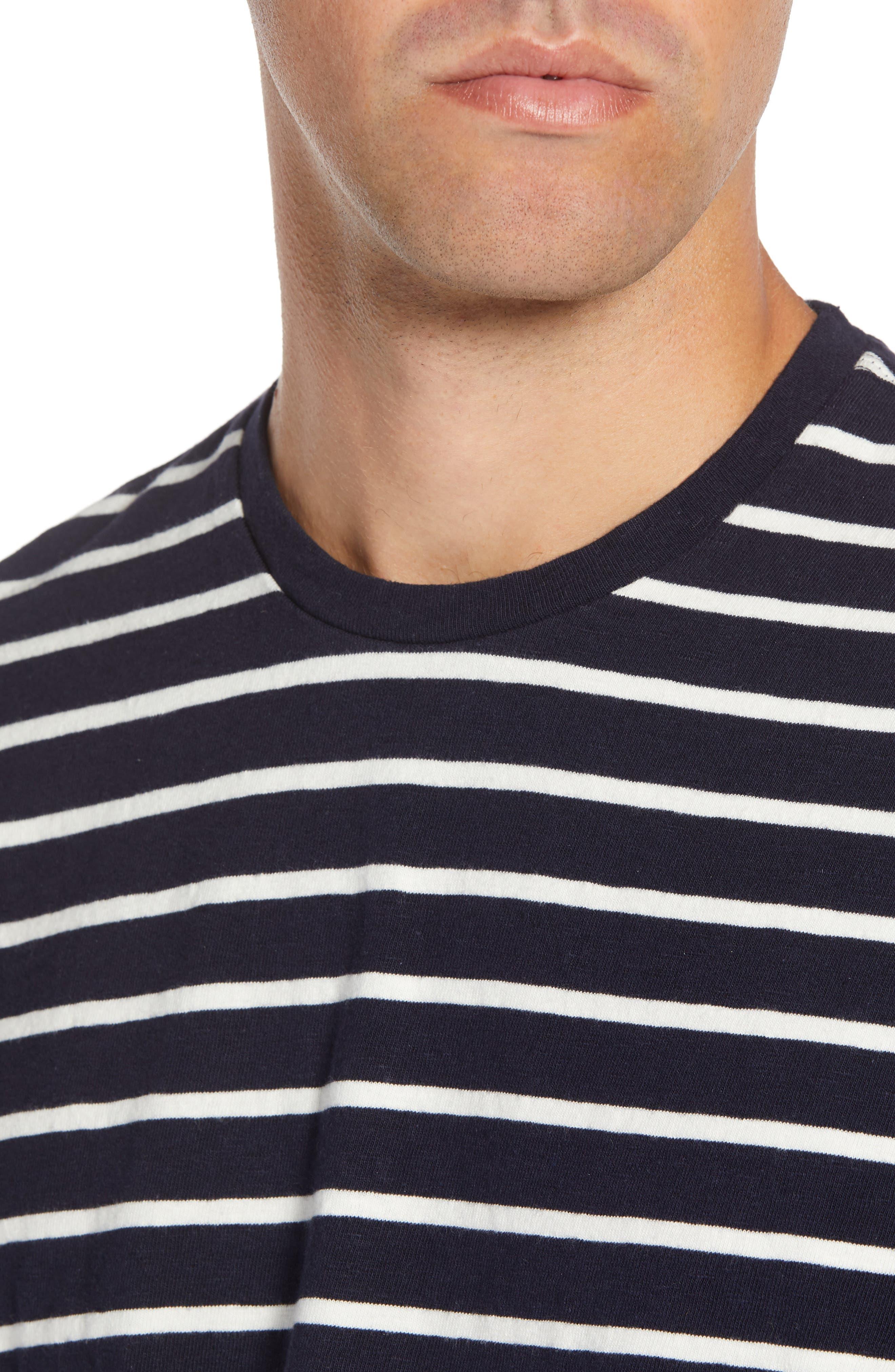 Stripe Long Sleeve T-Shirt,                             Alternate thumbnail 4, color,                             NAVY NIGHT ECRU STRIPE